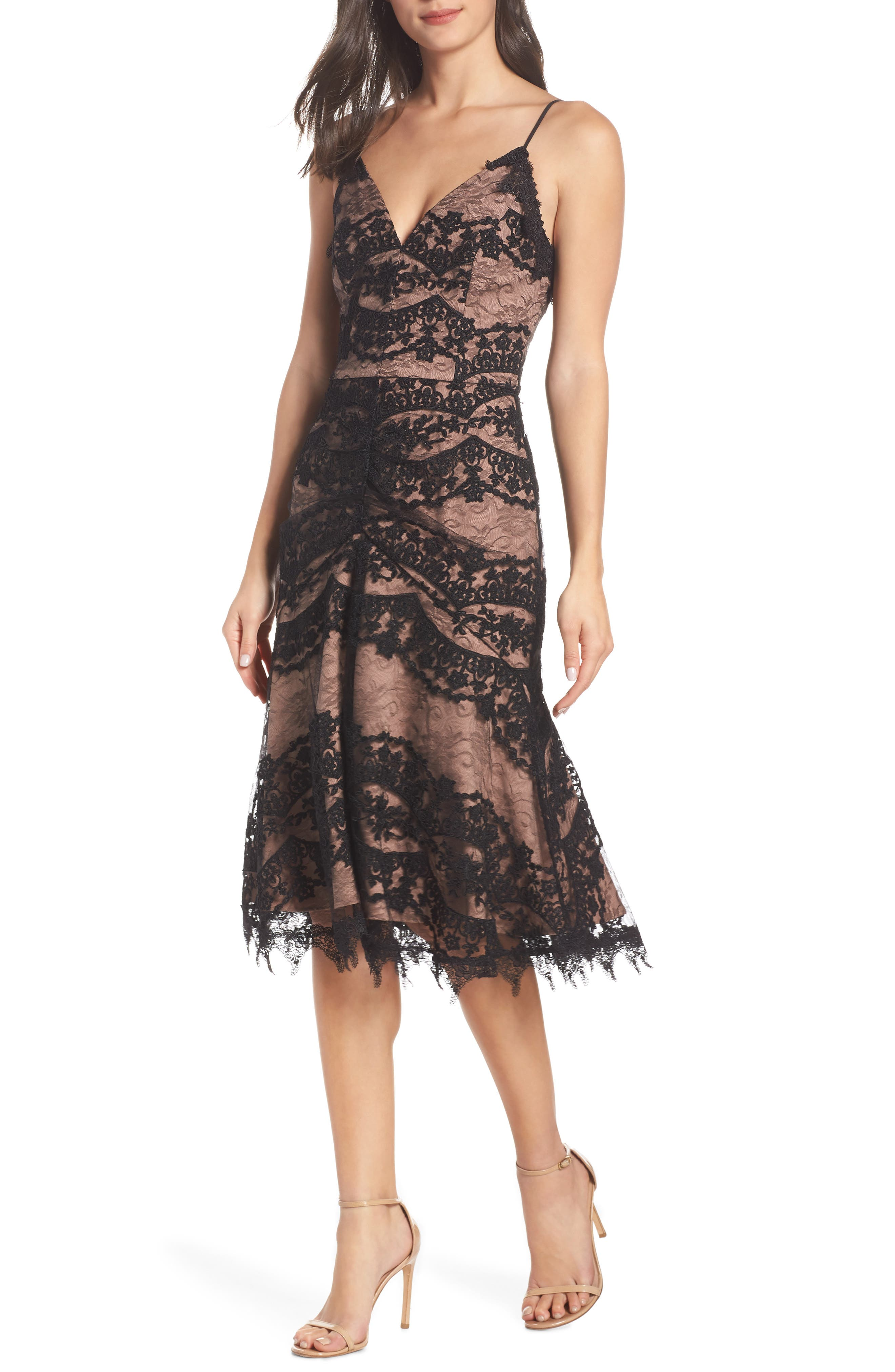 HARLYN Lace Midi Tea-Length Dress in Black/ Nude