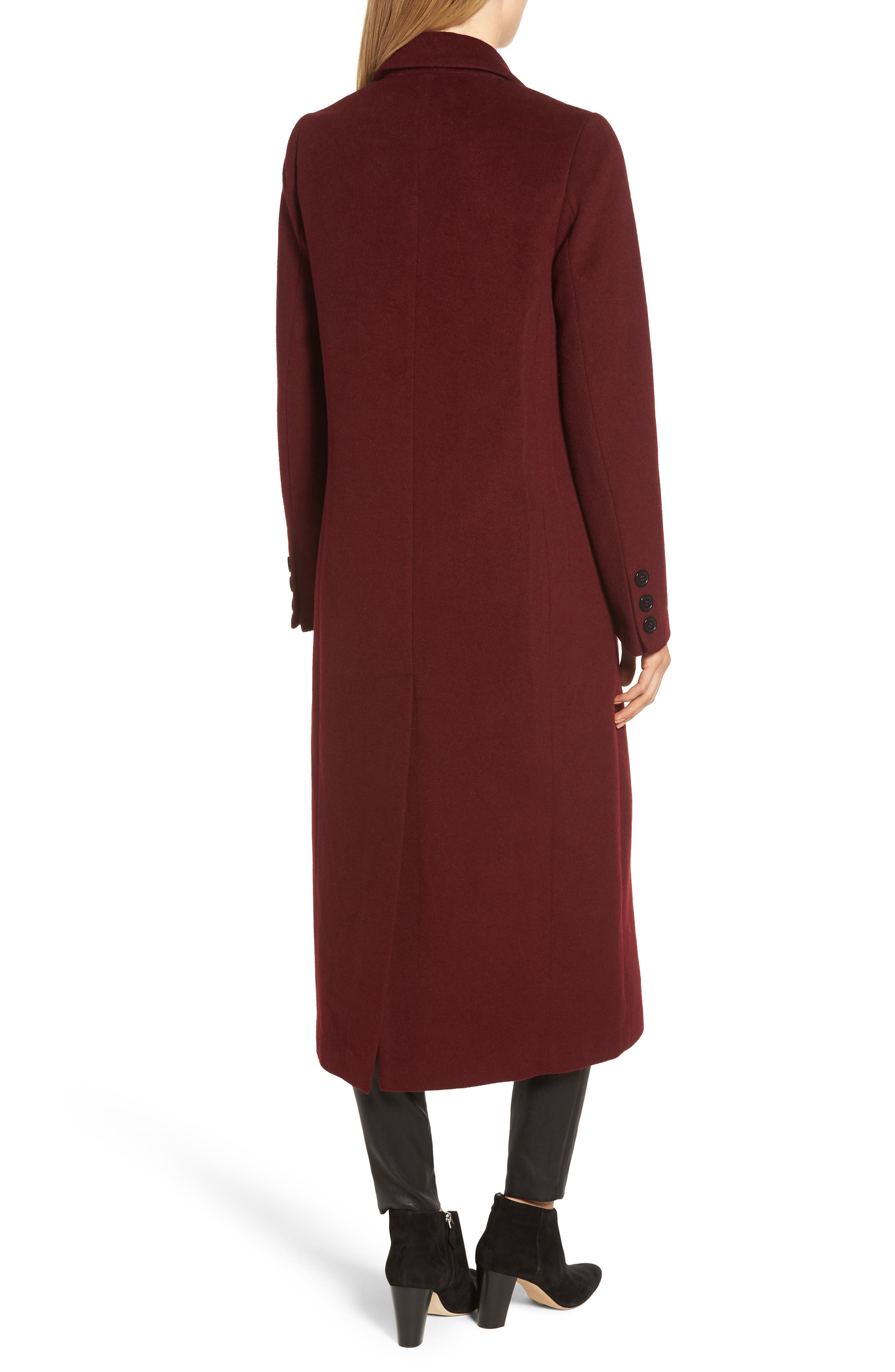 Wool Blend Menswear Coat,                             Alternate thumbnail 2, color,                             BURGUNDY