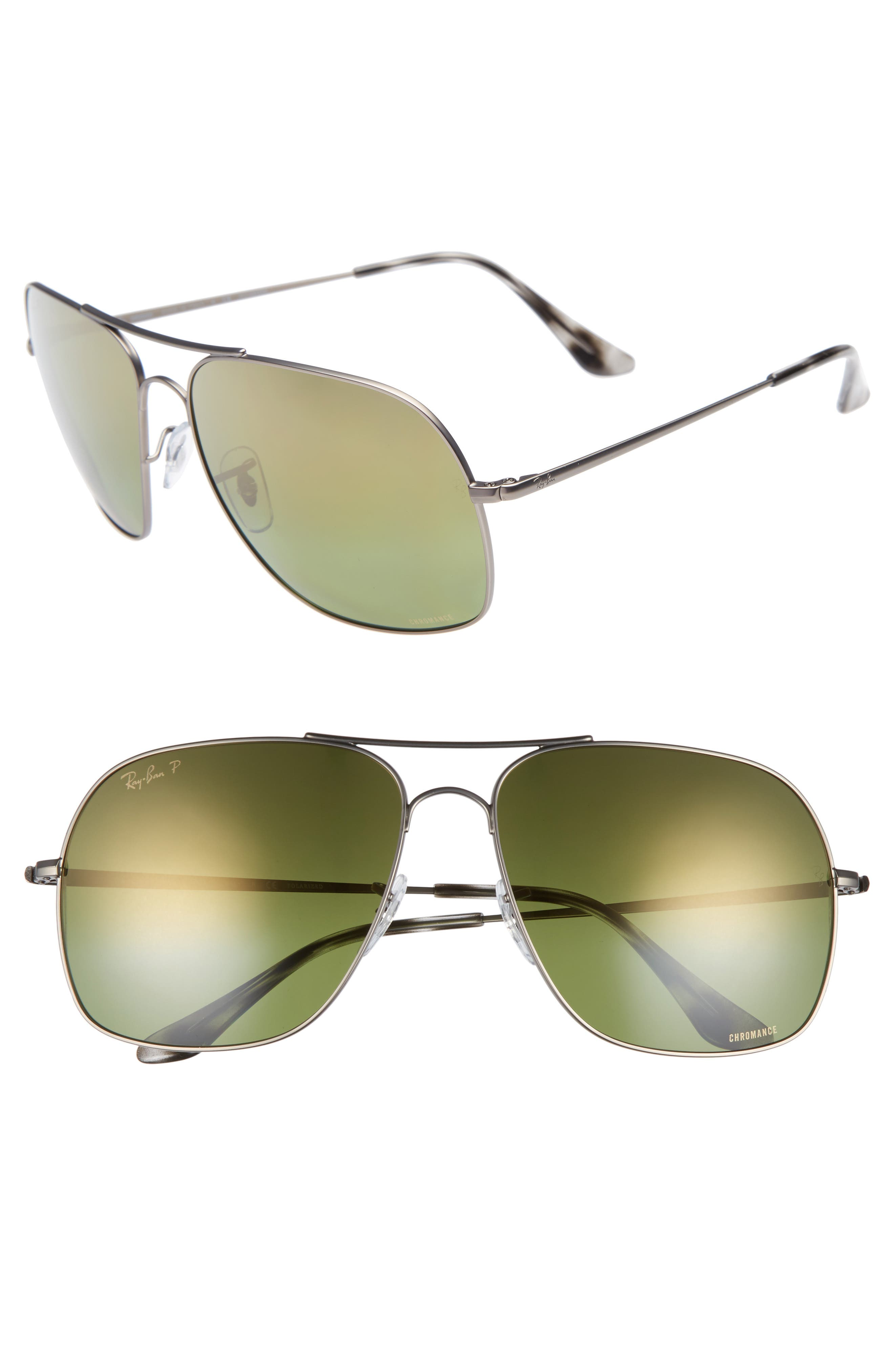 Chromance 61mm Double Bridge Aviator Sunglasses,                         Main,                         color, GUNMETAL/ GREEN