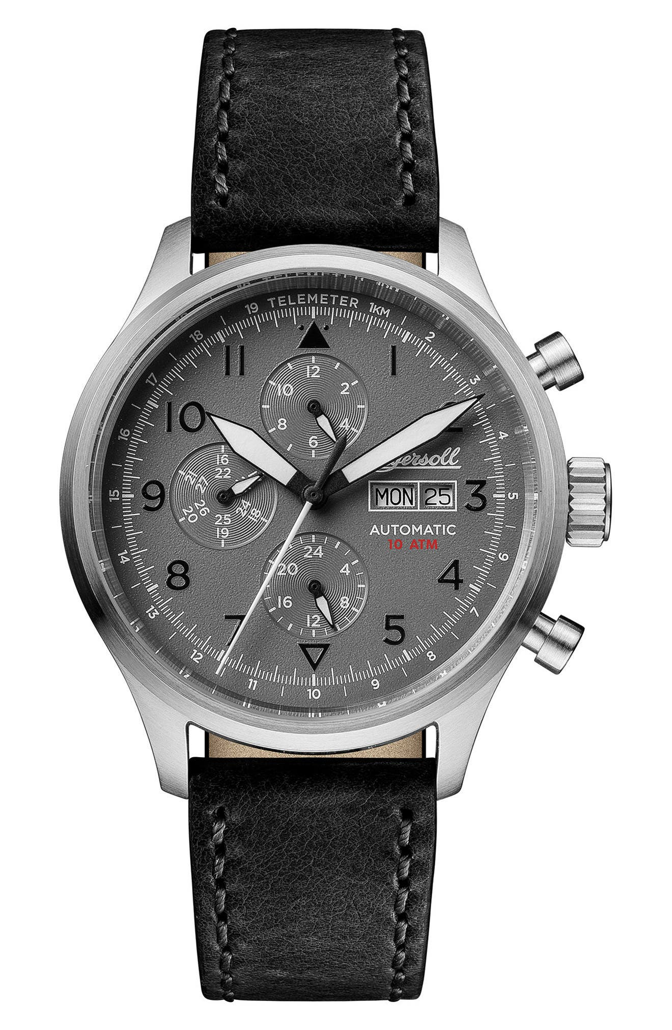 Ingersoll Bateman Automatic Multifunction Leather Strap Watch, 45mm,                             Main thumbnail 1, color,                             BLACK/ GREY/ SILVER