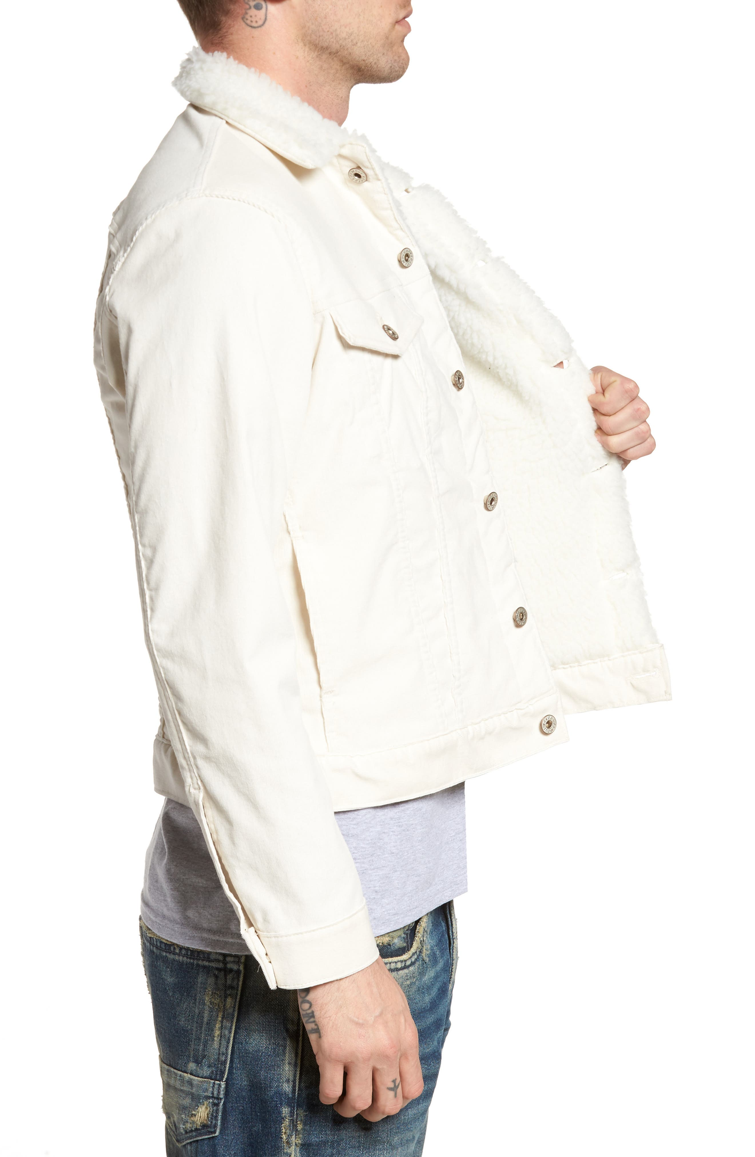 Faux Shearling Lined Denim Jacket,                             Alternate thumbnail 3, color,                             100