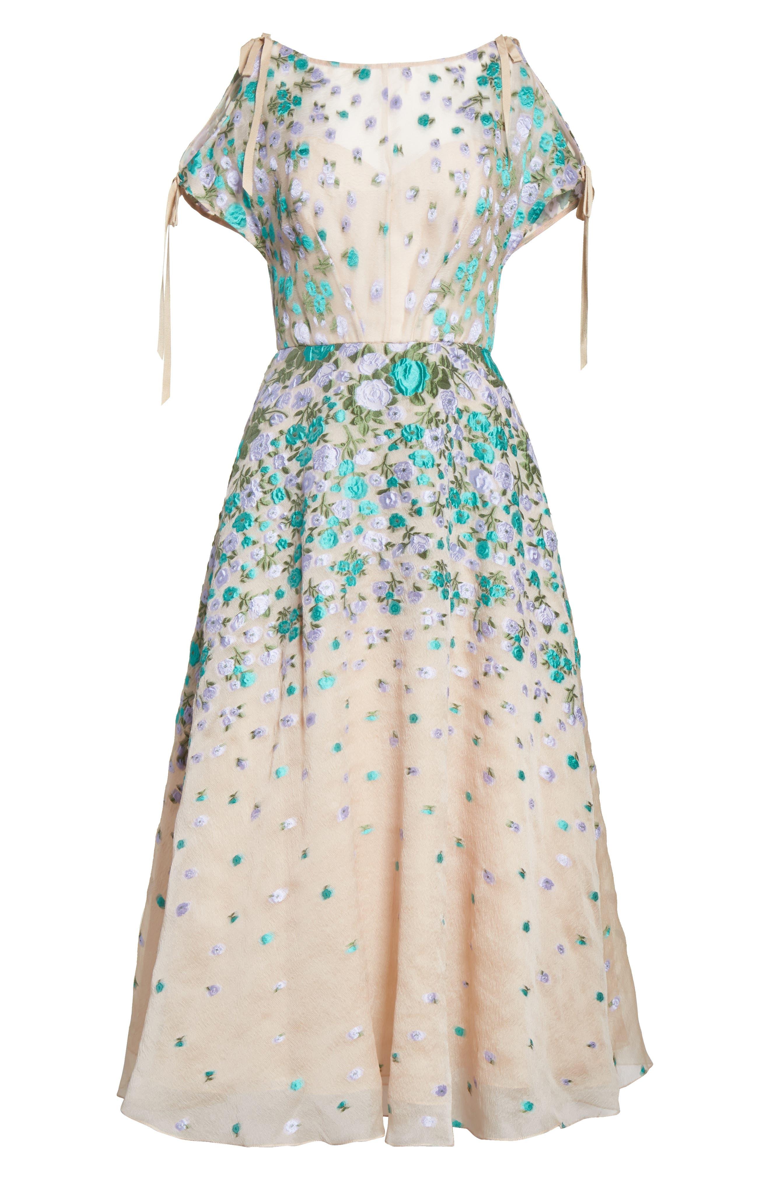 Floral Matelassé Cold Shoulder Dress,                             Alternate thumbnail 6, color,                             536