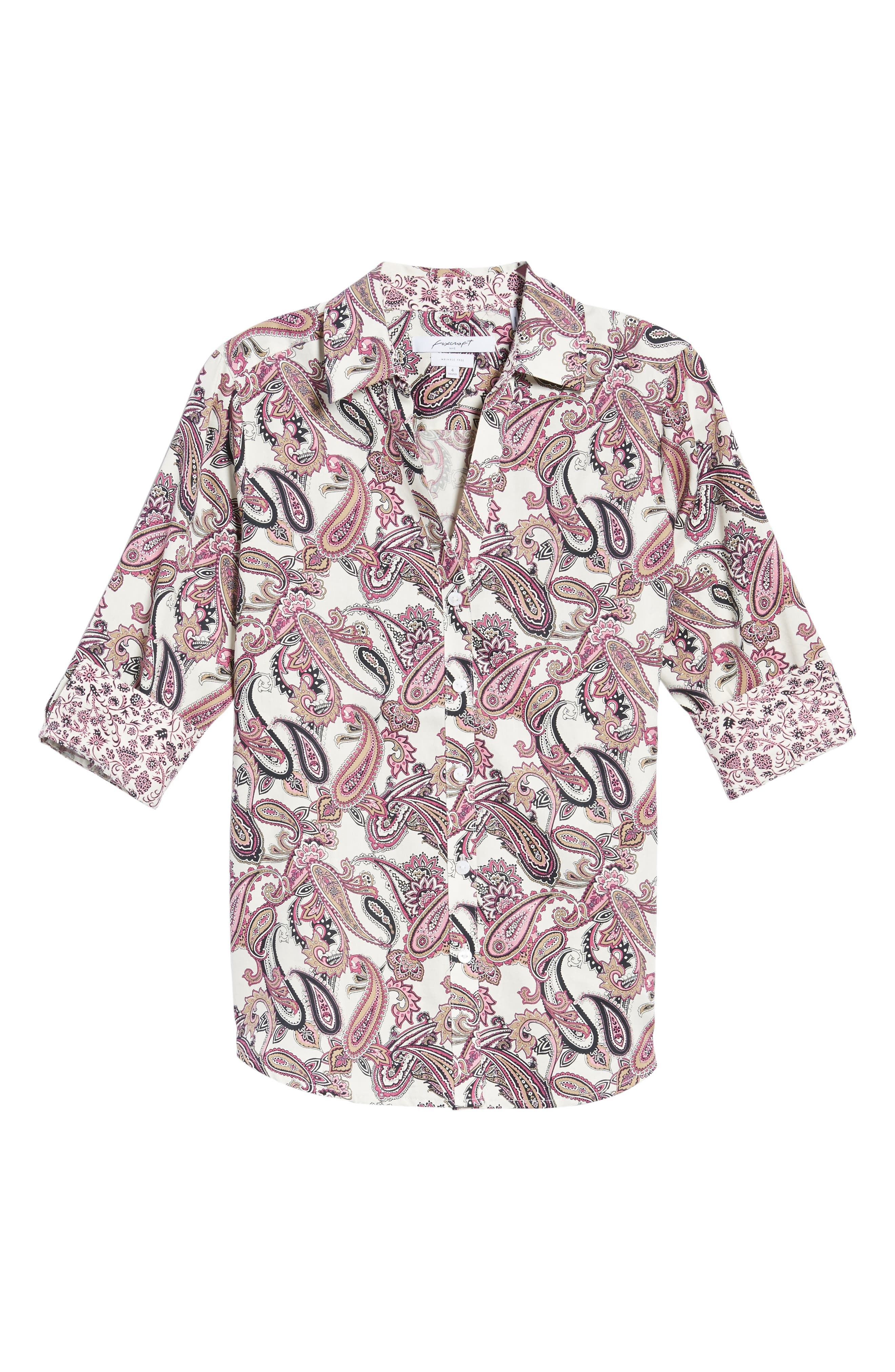 Mary Paisley Wrinkle Free Shirt,                             Alternate thumbnail 6, color,                             935