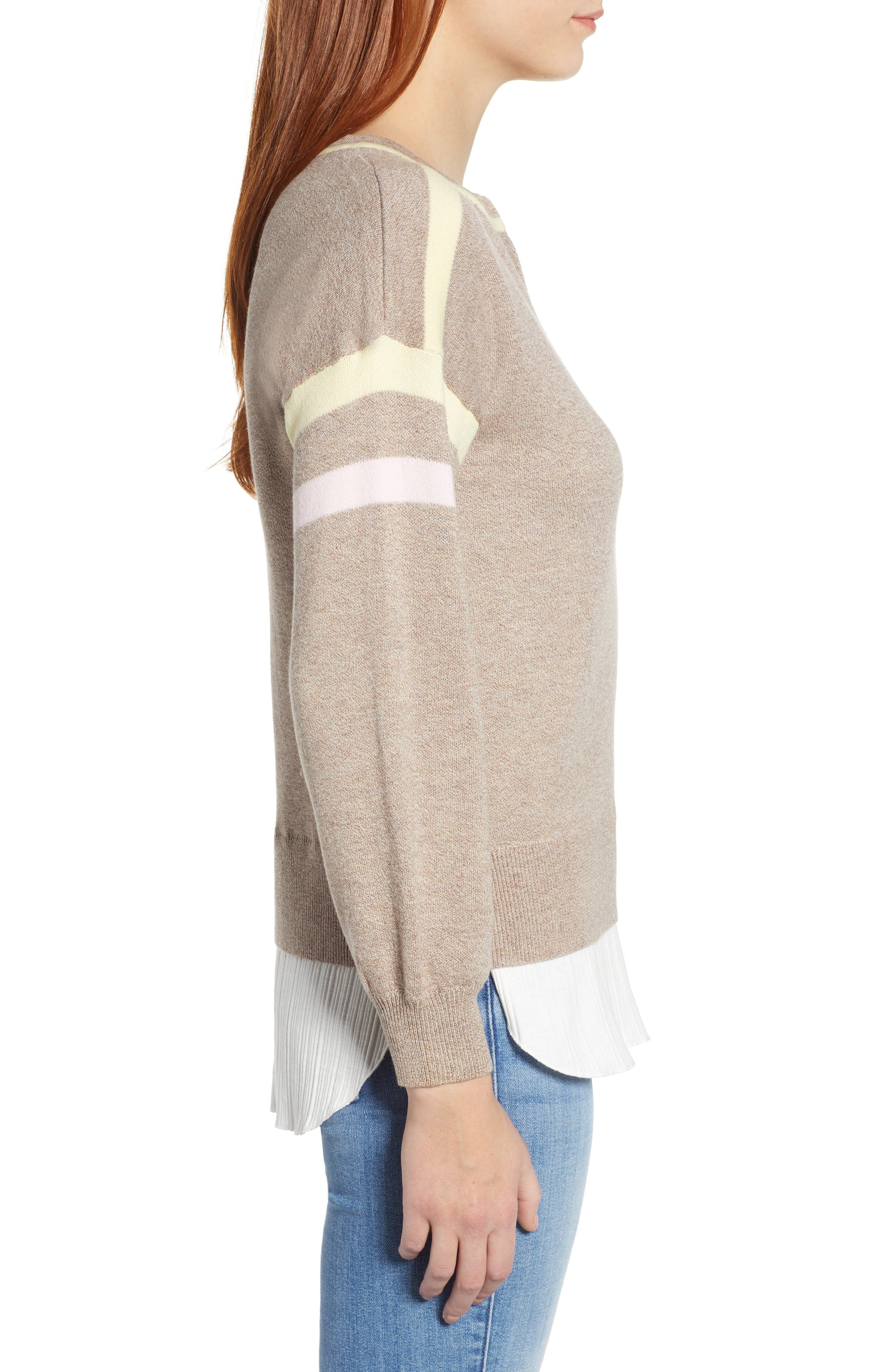 Layered Look Stripe Sweater,                             Alternate thumbnail 3, color,                             HEATHER CLOVE