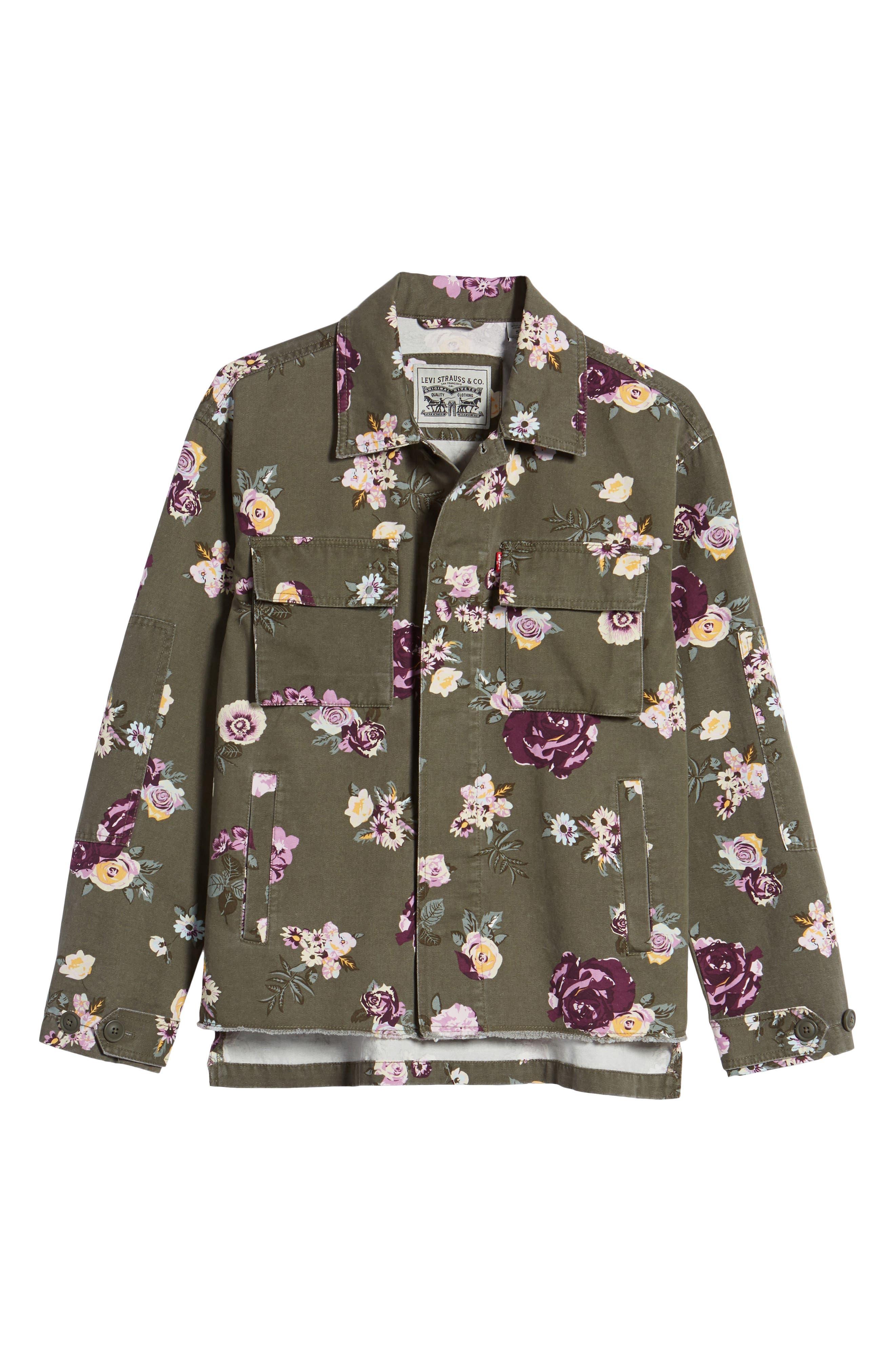 Oversize Cotton Canvas Camo Shirt Jacket,                             Alternate thumbnail 6, color,                             303