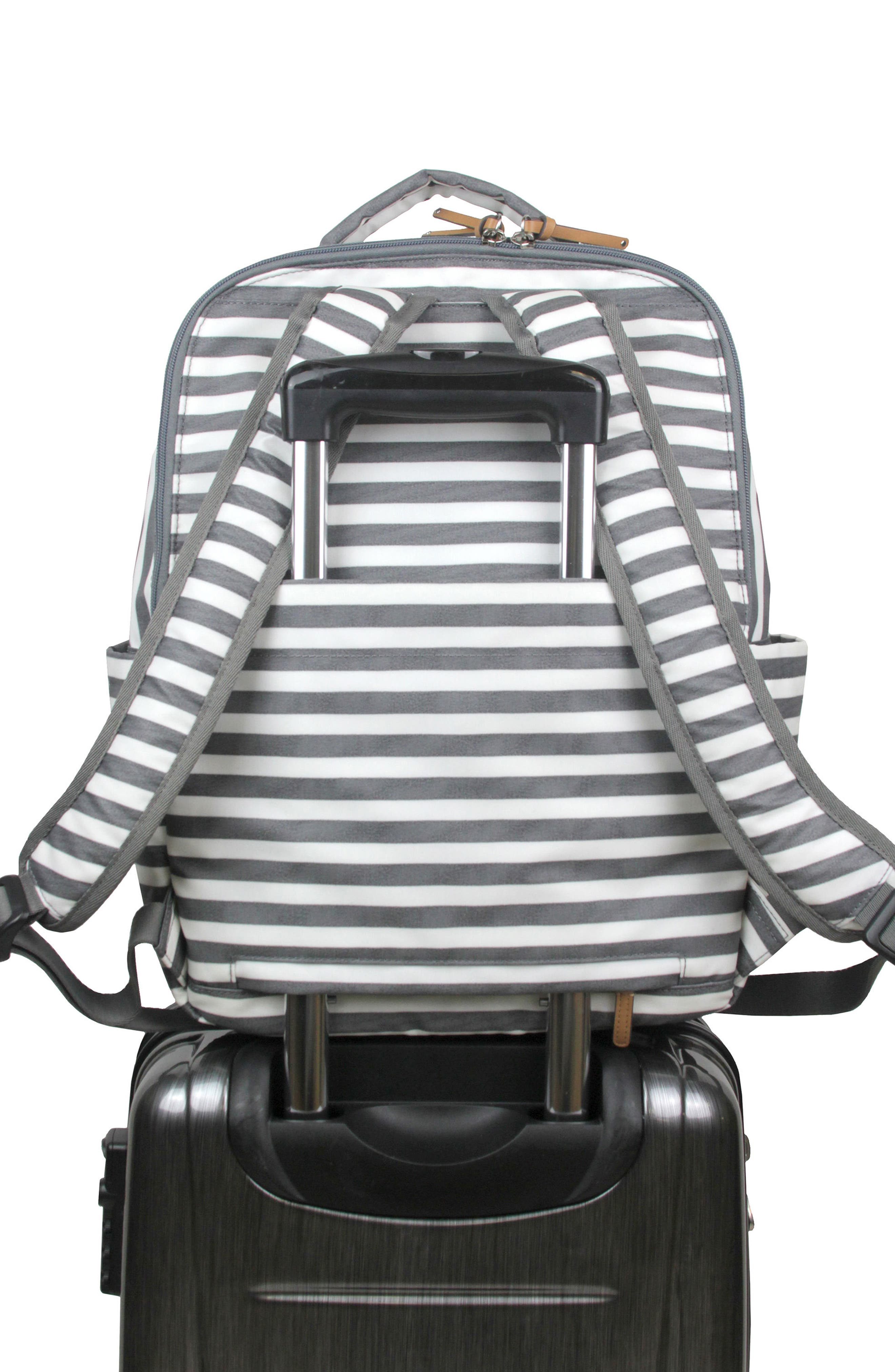 On-the-Go Water Resistant Diaper Backpack,                             Alternate thumbnail 5, color,                             STRIPE