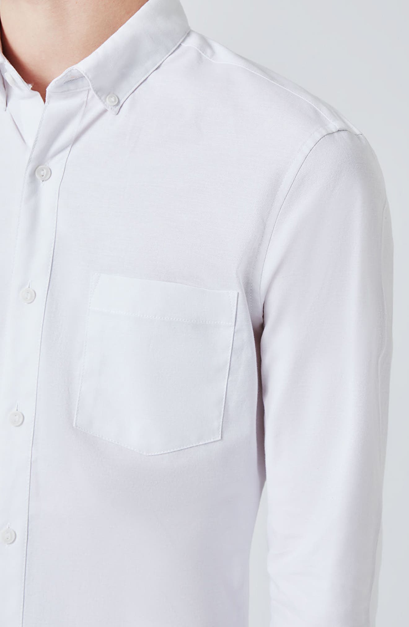 Muscle Fit Oxford Shirt,                             Alternate thumbnail 3, color,                             100
