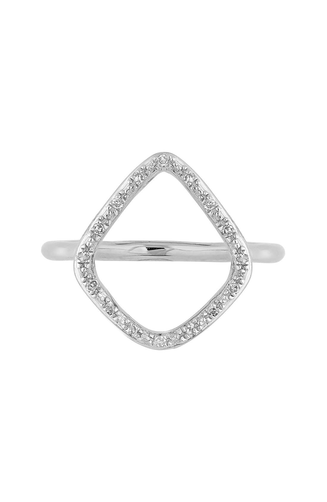 'Riva' Diamond Hoop Ring,                             Main thumbnail 1, color,                             SILVER