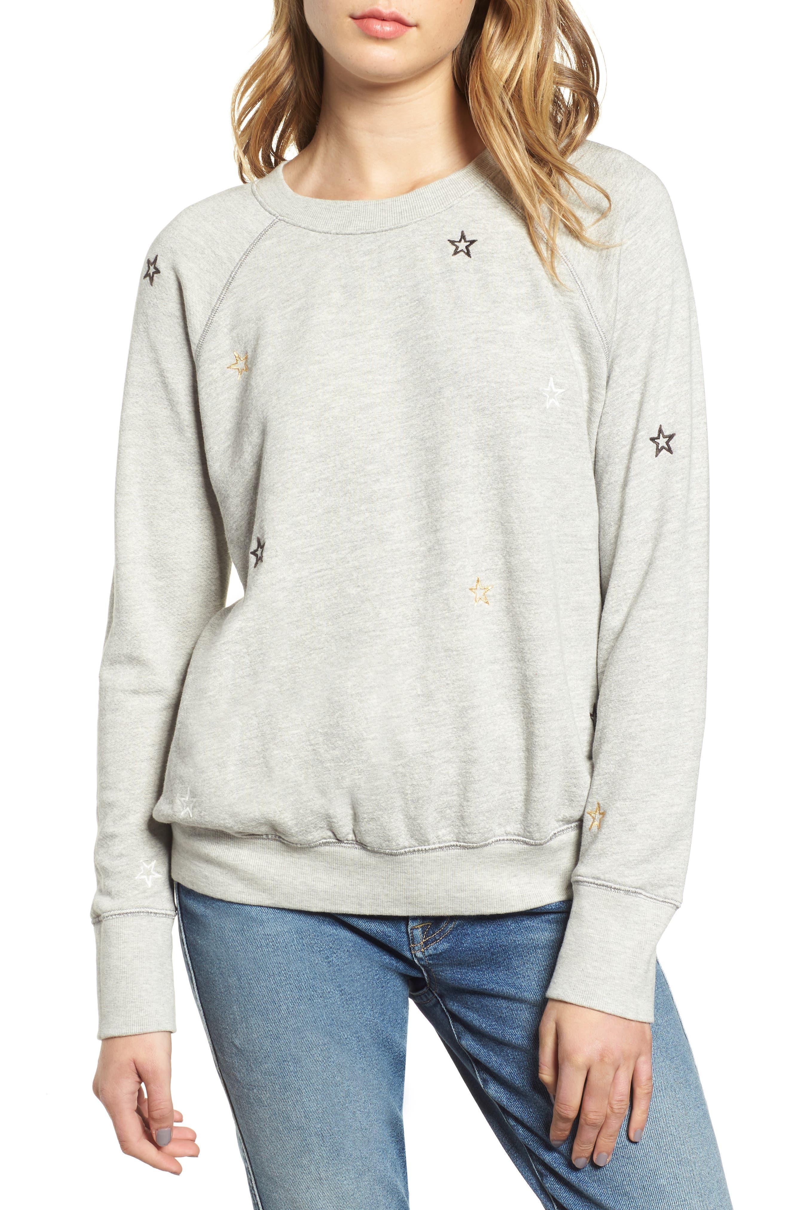 Star Embroidered Sweatshirt,                         Main,                         color, HEATHER GREY