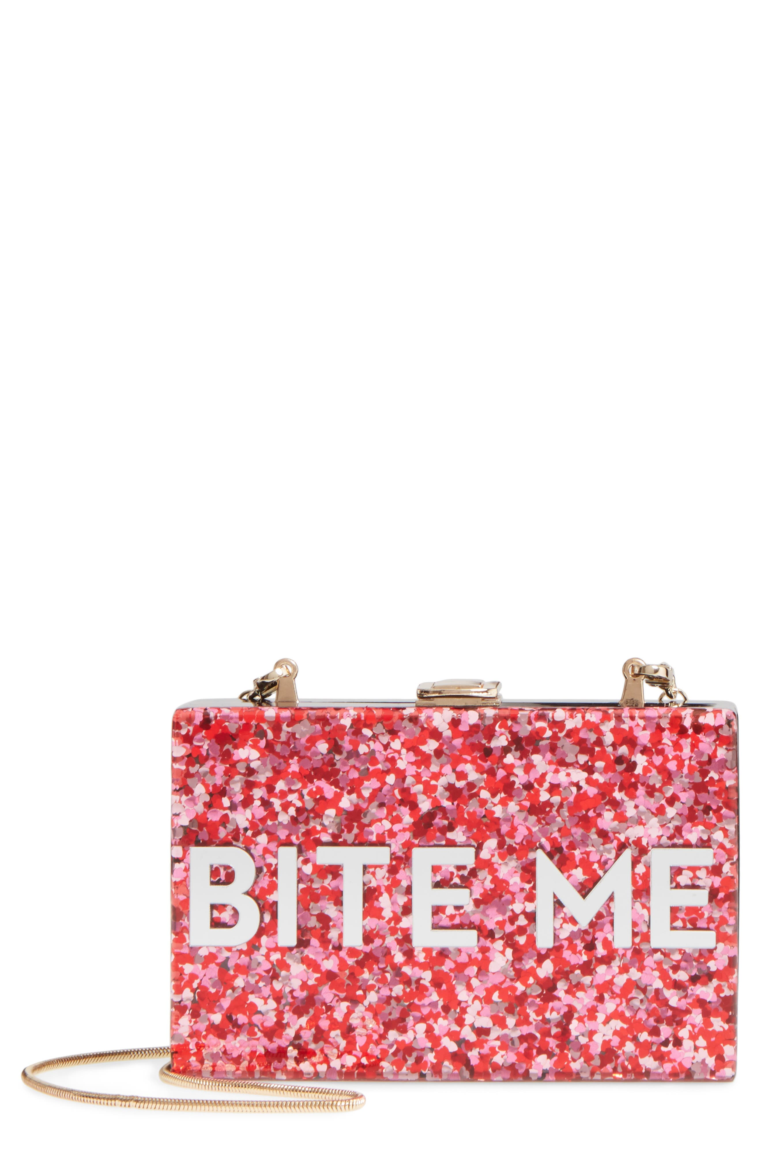 MILLY Bite Me Glitter Box Clutch, Main, color, 600