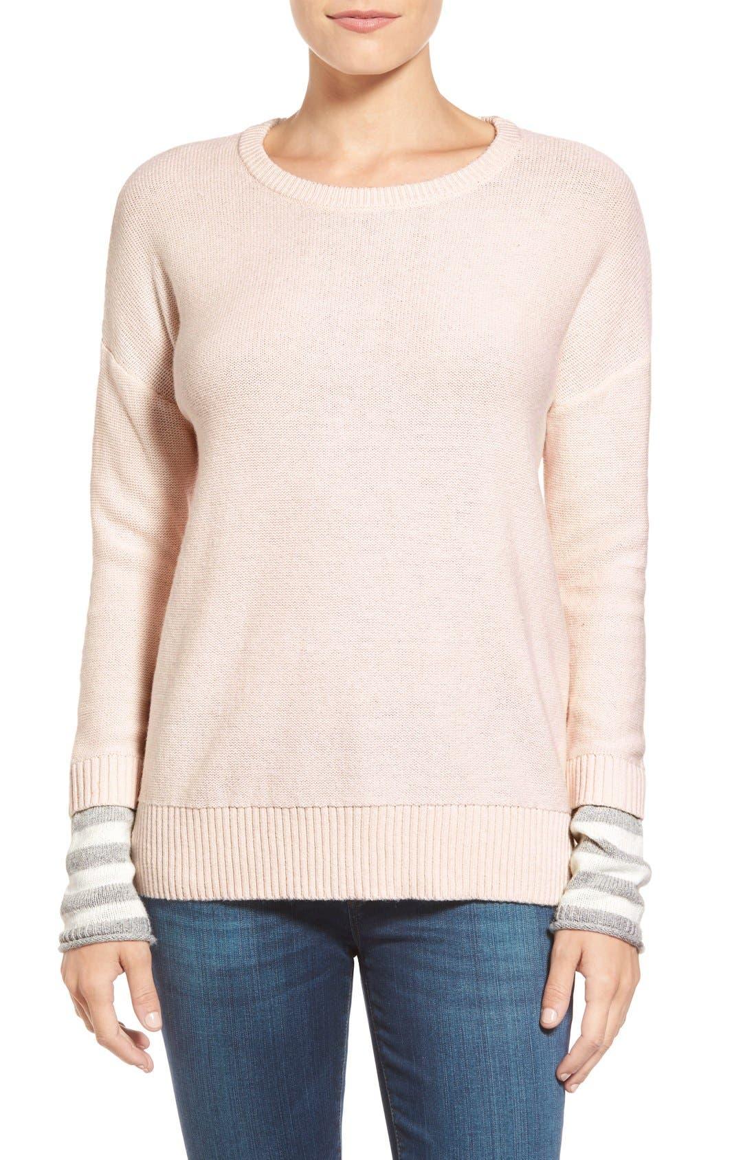 Contrast Cuff Crewneck Sweater,                             Main thumbnail 10, color,