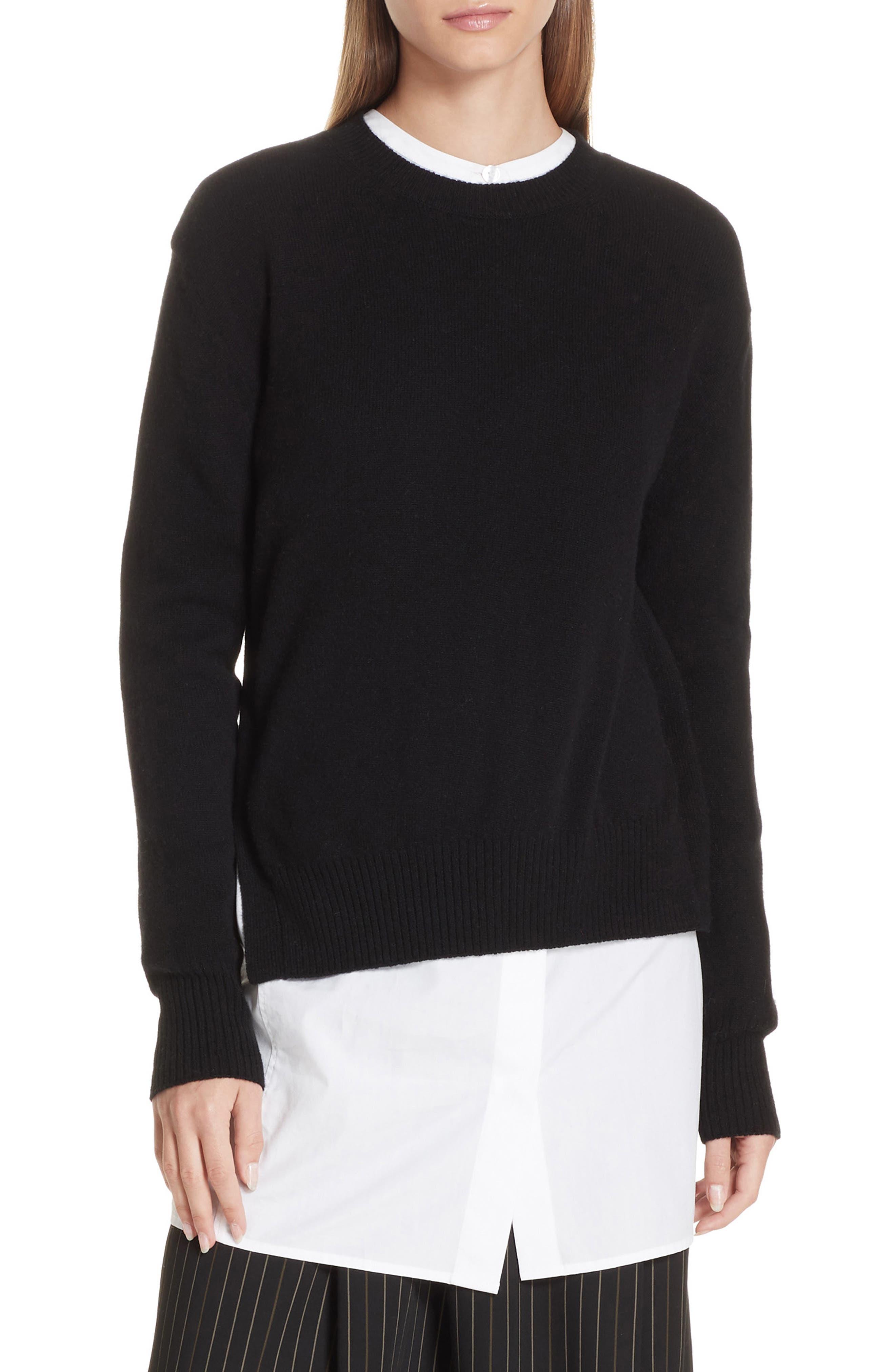 Asymmetrical Cashmere Sweater,                             Main thumbnail 1, color,                             BLACK