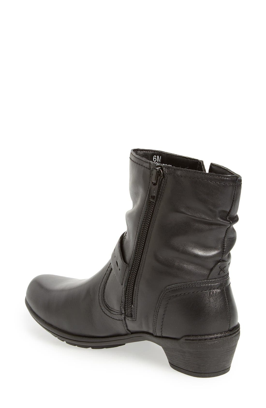 'Riley' Waterproof Buckle Strap Bootie,                             Alternate thumbnail 3, color,                             BLACK LEATHER