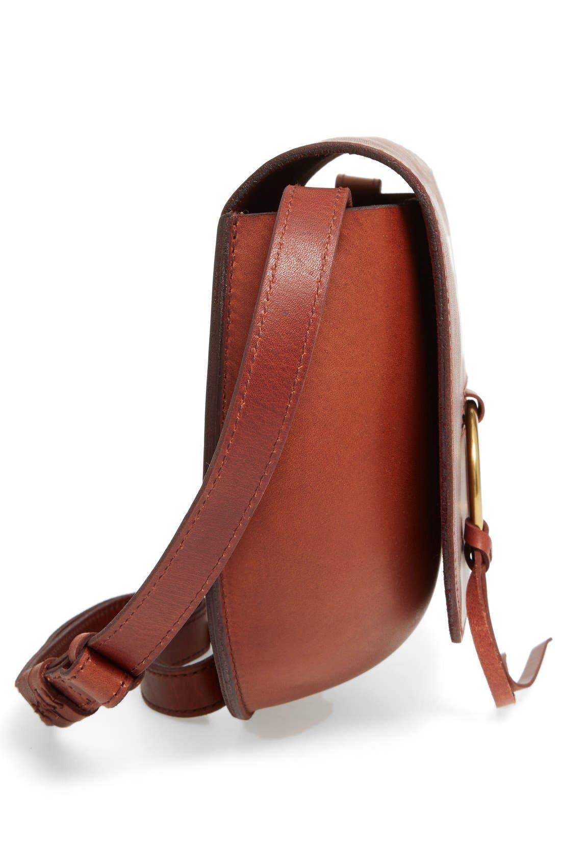 O-Ring Leather Saddle Bag,                             Alternate thumbnail 4, color,                             200