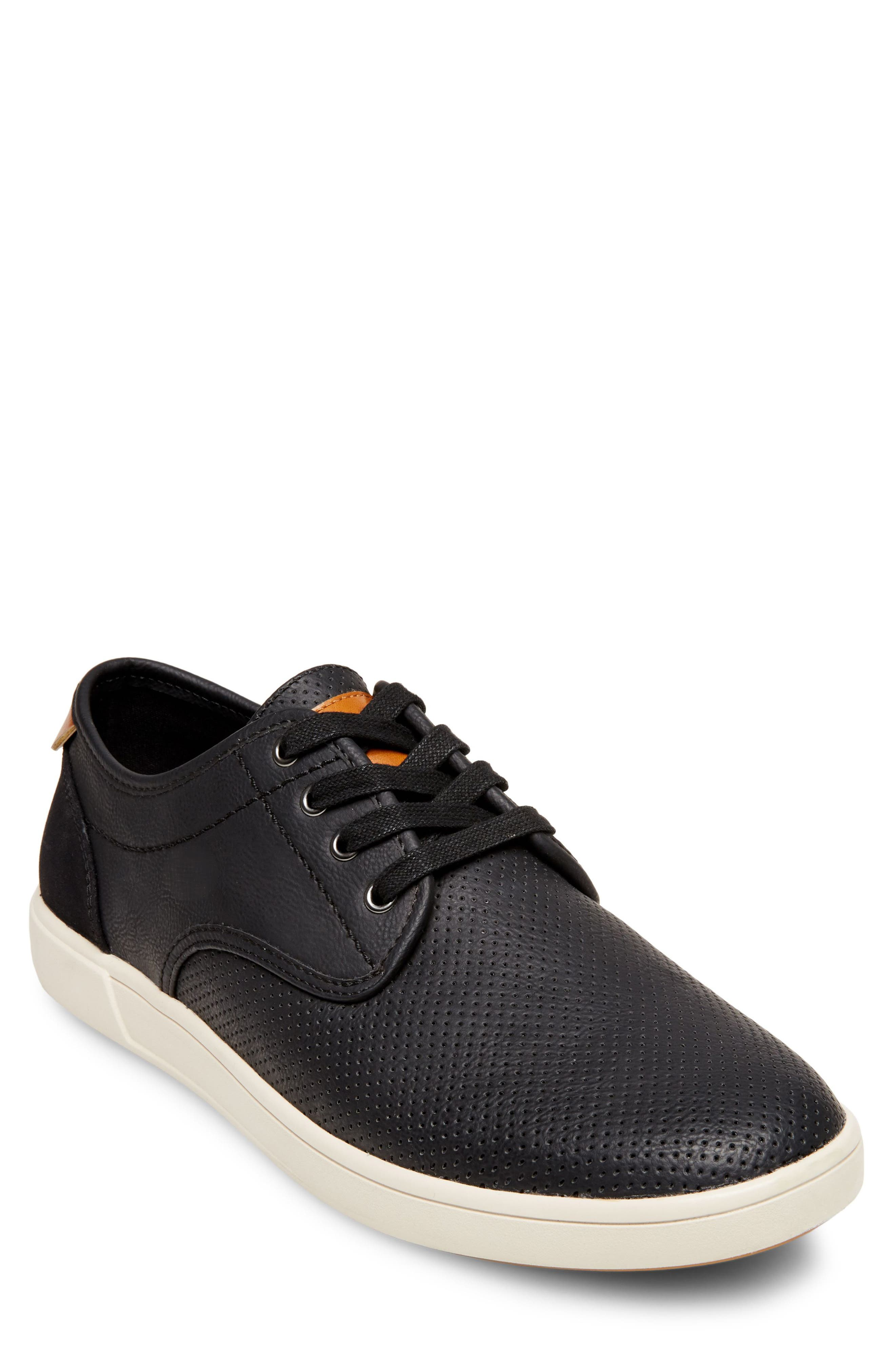 Flyerz Perforated Sneaker,                             Main thumbnail 1, color,                             BLACK LEATHER