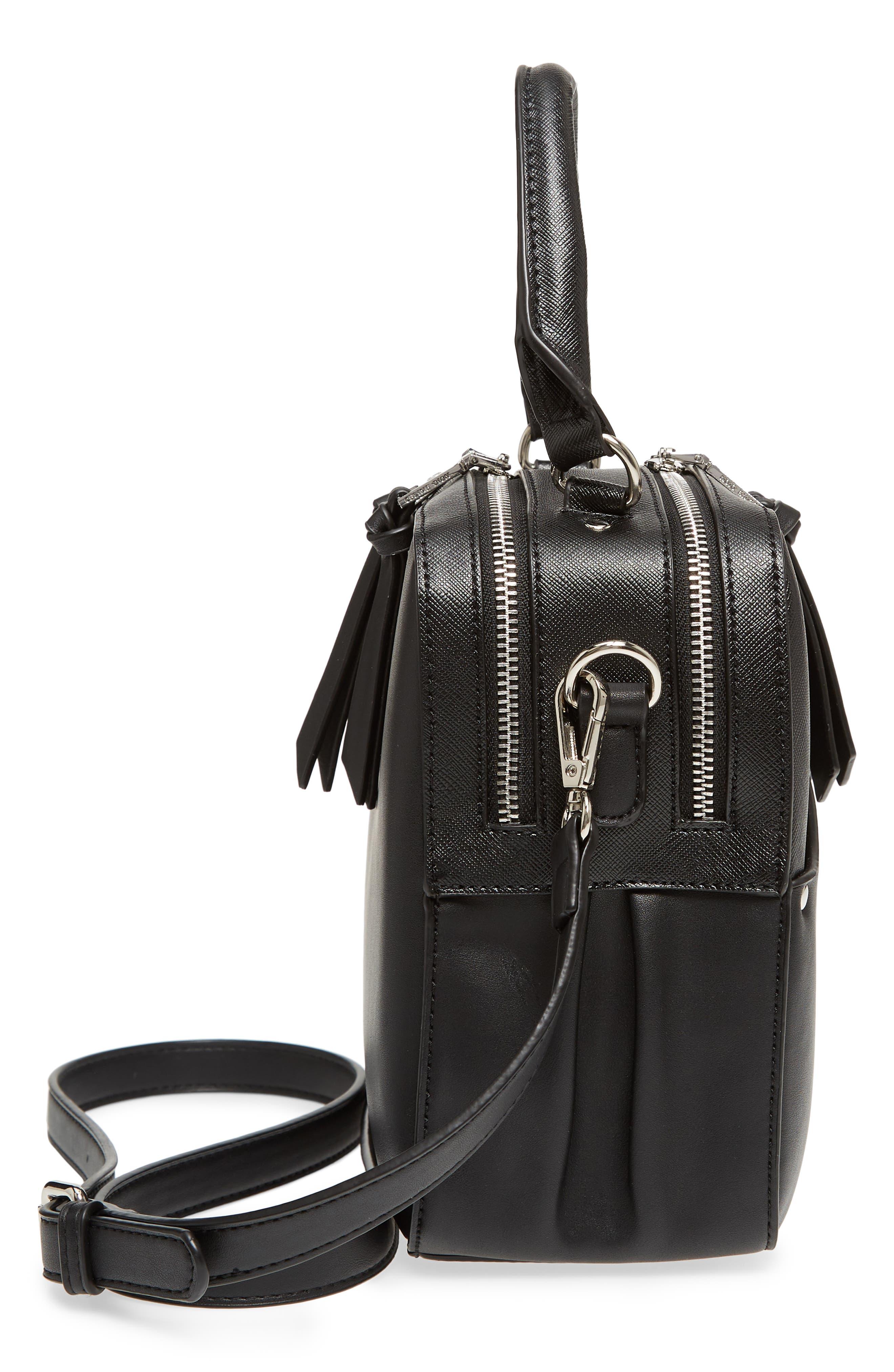 Céline Dion Motif Top Handle Leather Satchel,                             Alternate thumbnail 13, color,