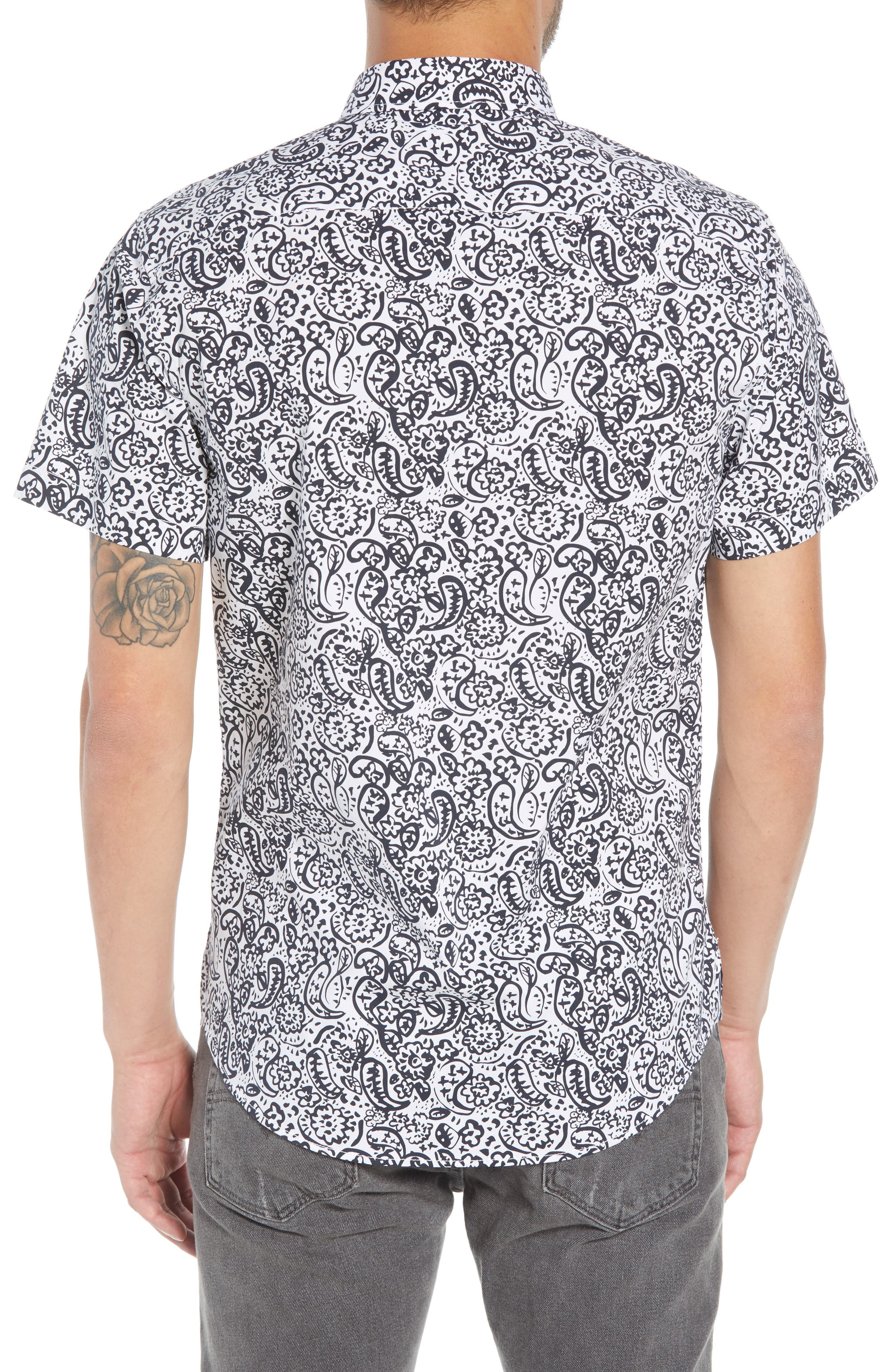 Paisley Print Woven Shirt,                             Alternate thumbnail 2, color,                             100