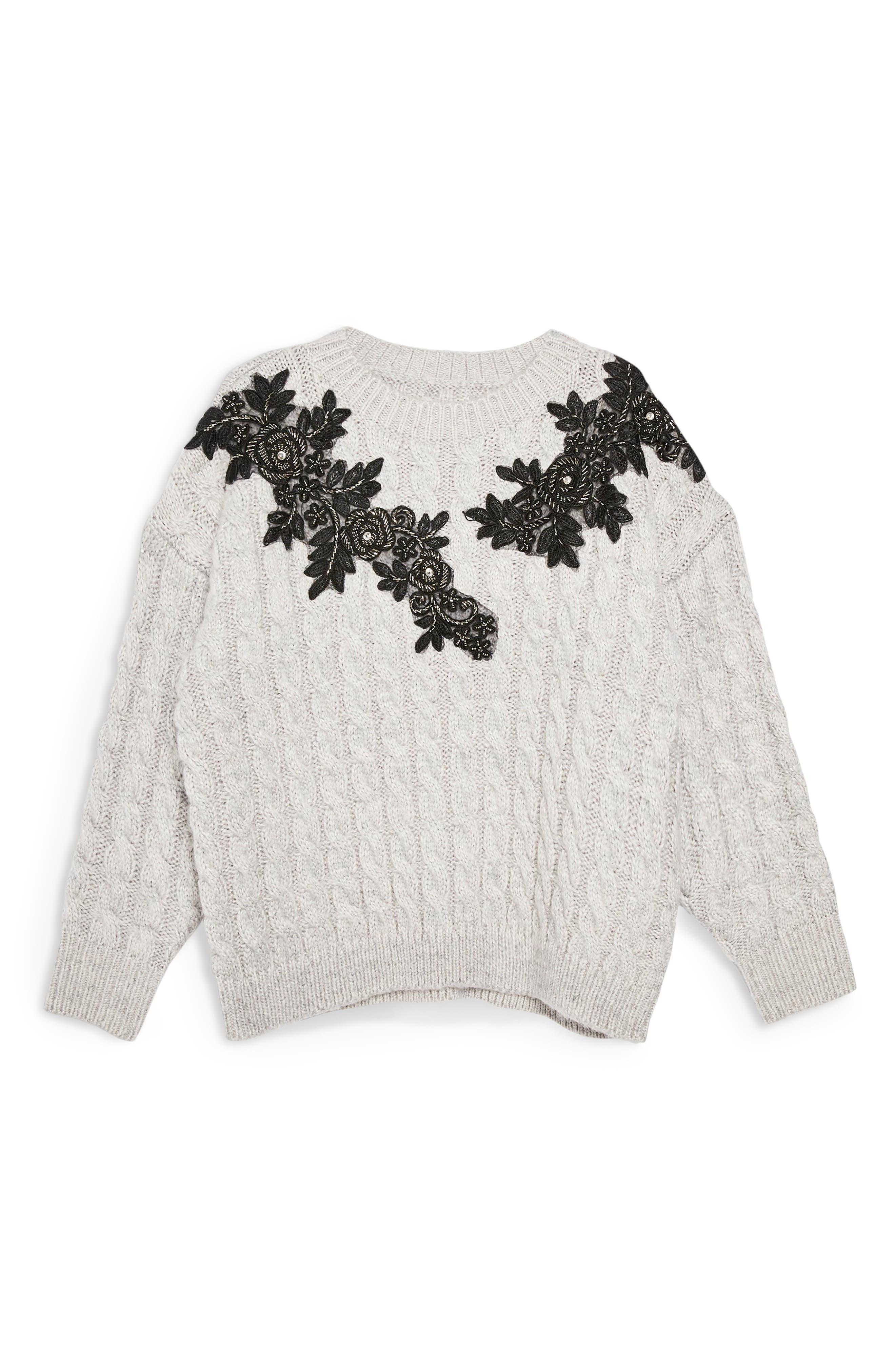 TOPSHOP,                             Appliqué Cable Knit Sweater,                             Alternate thumbnail 4, color,                             020