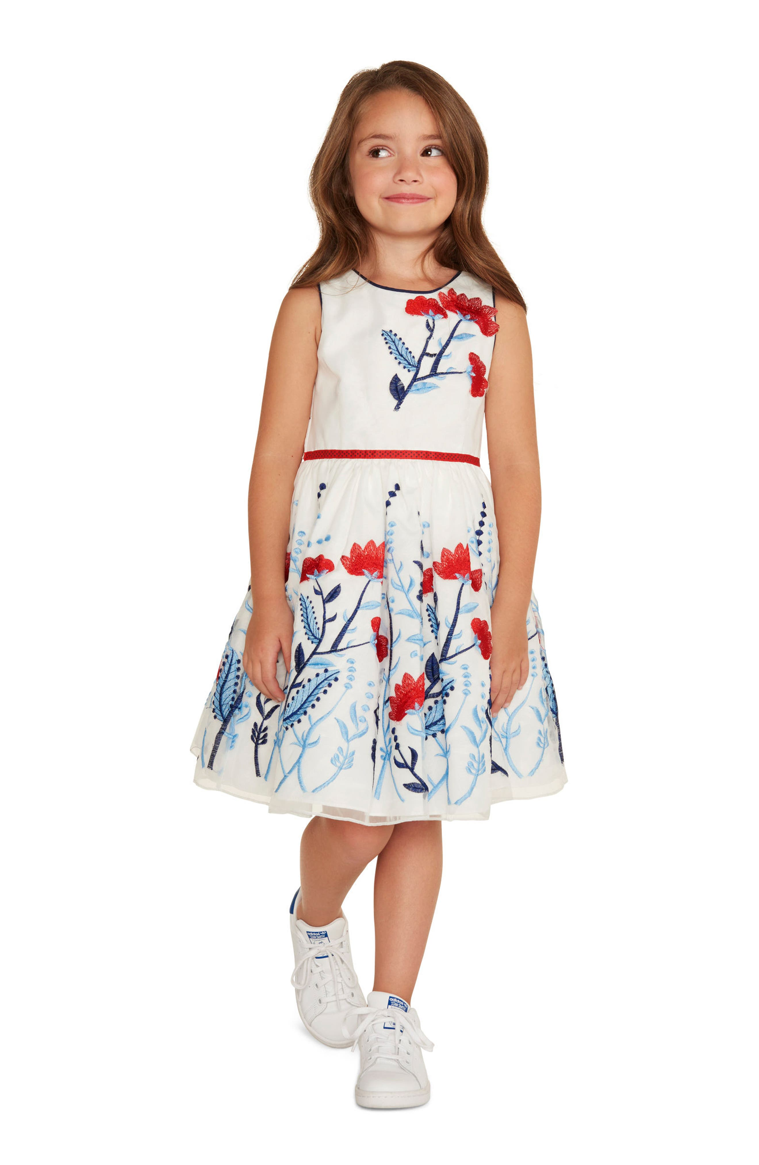 Floral Embroidered Organza Dress,                             Alternate thumbnail 4, color,                             100