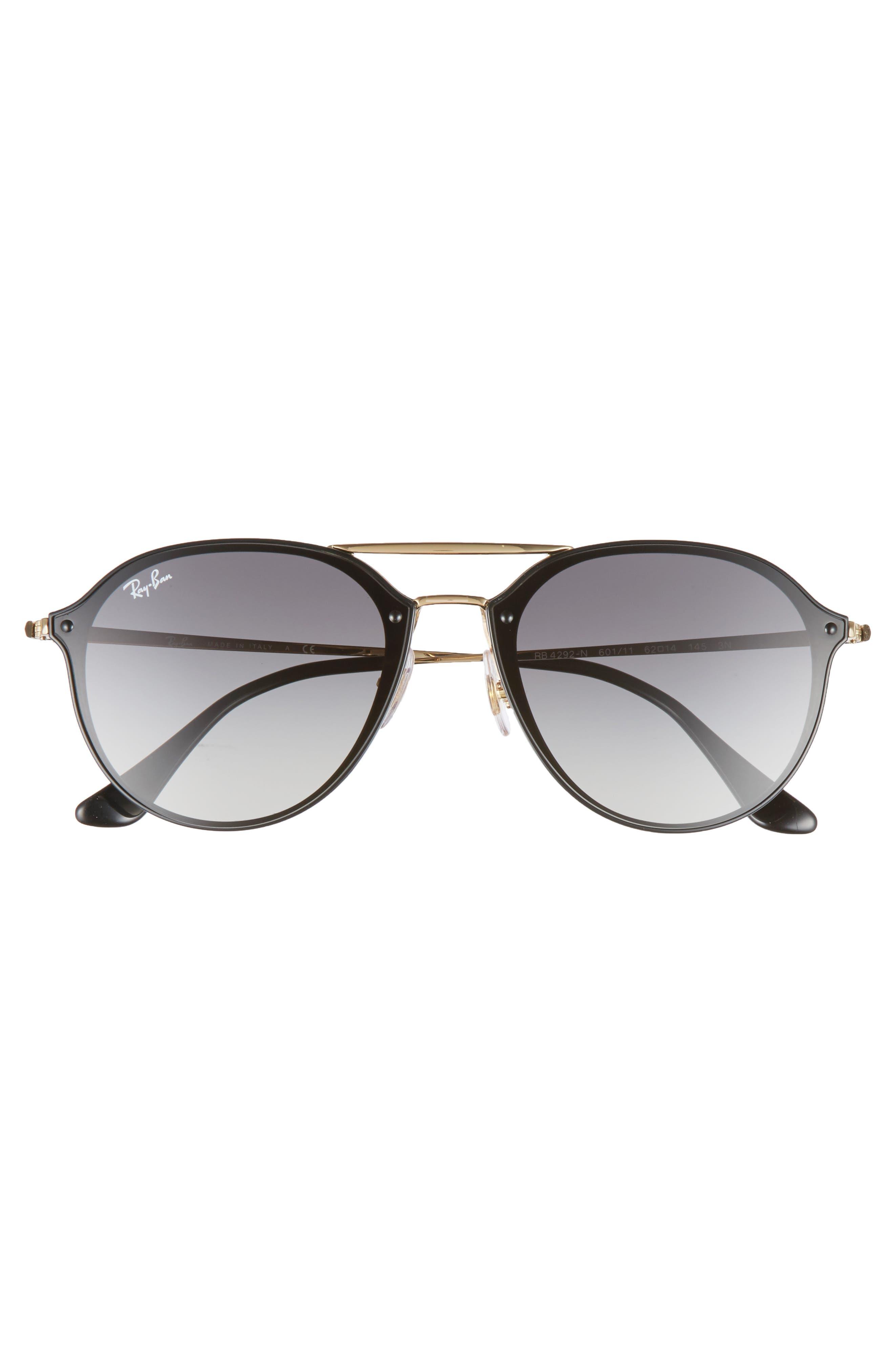 62mm Gradient Lens Aviator Sunglasses,                             Alternate thumbnail 4, color,                             BLACK