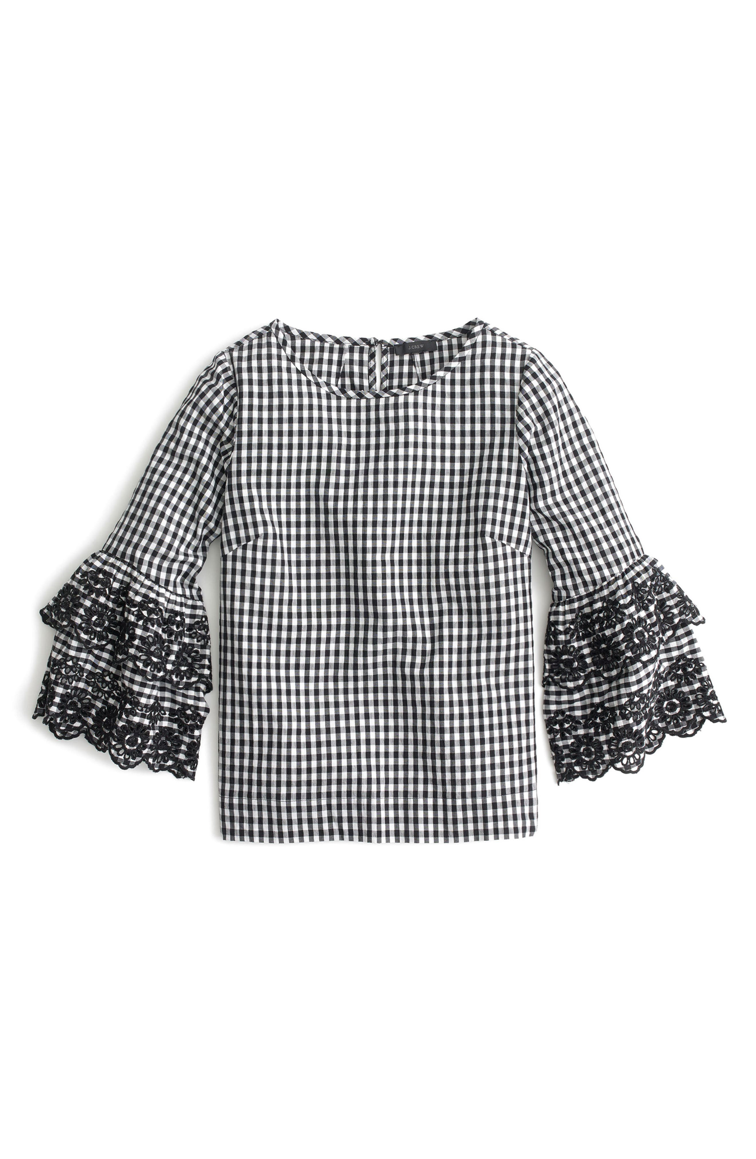Gingham Tiered Bell Sleeve Top,                             Alternate thumbnail 3, color,