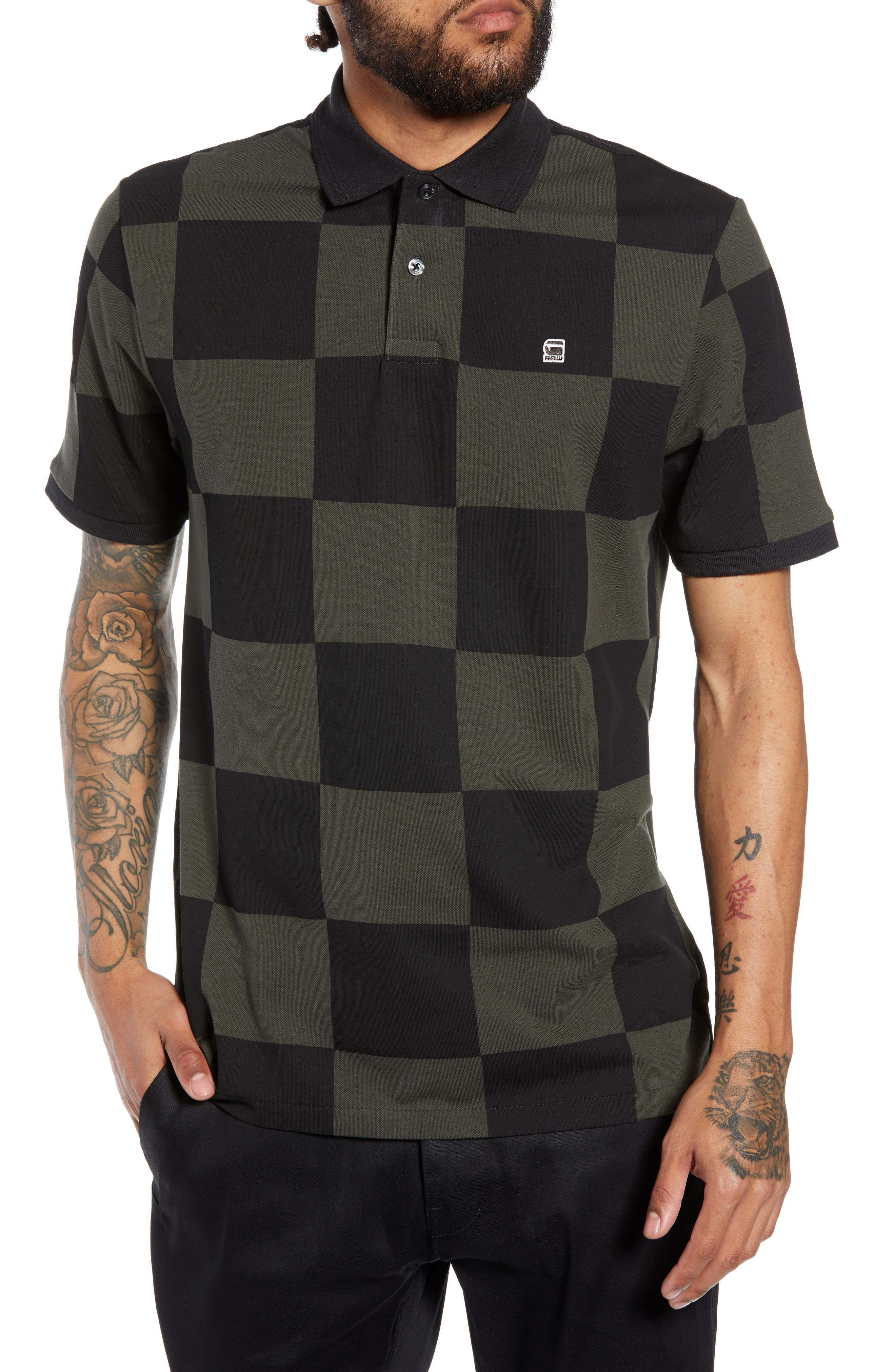 G-STAR RAW,                             Holliday Core Checker Piqué Polo,                             Main thumbnail 1, color,                             020