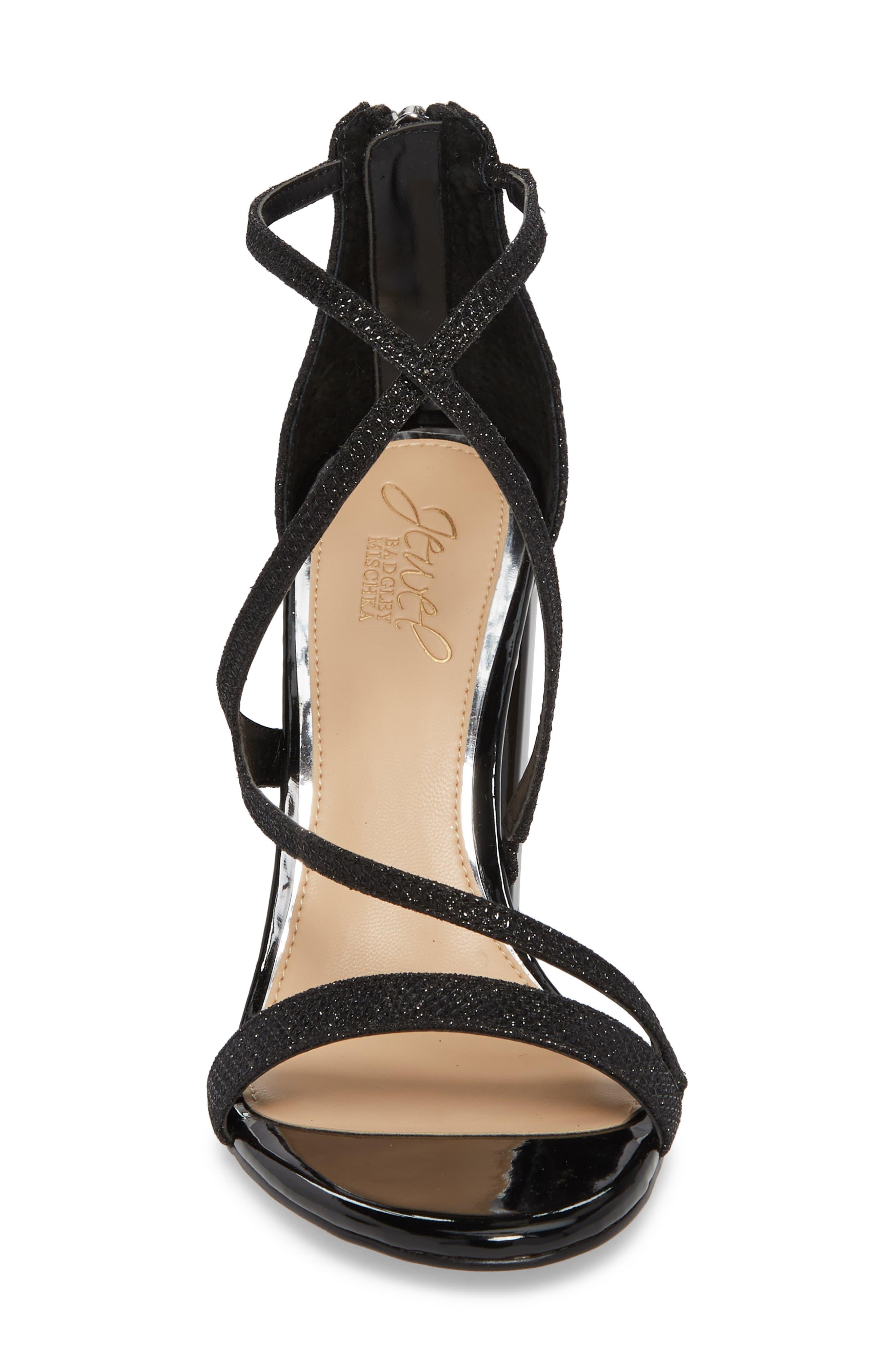 Badgley Mischka Gale Block Heel Sandal,                             Alternate thumbnail 4, color,                             BLACK GLITTER FABRIC