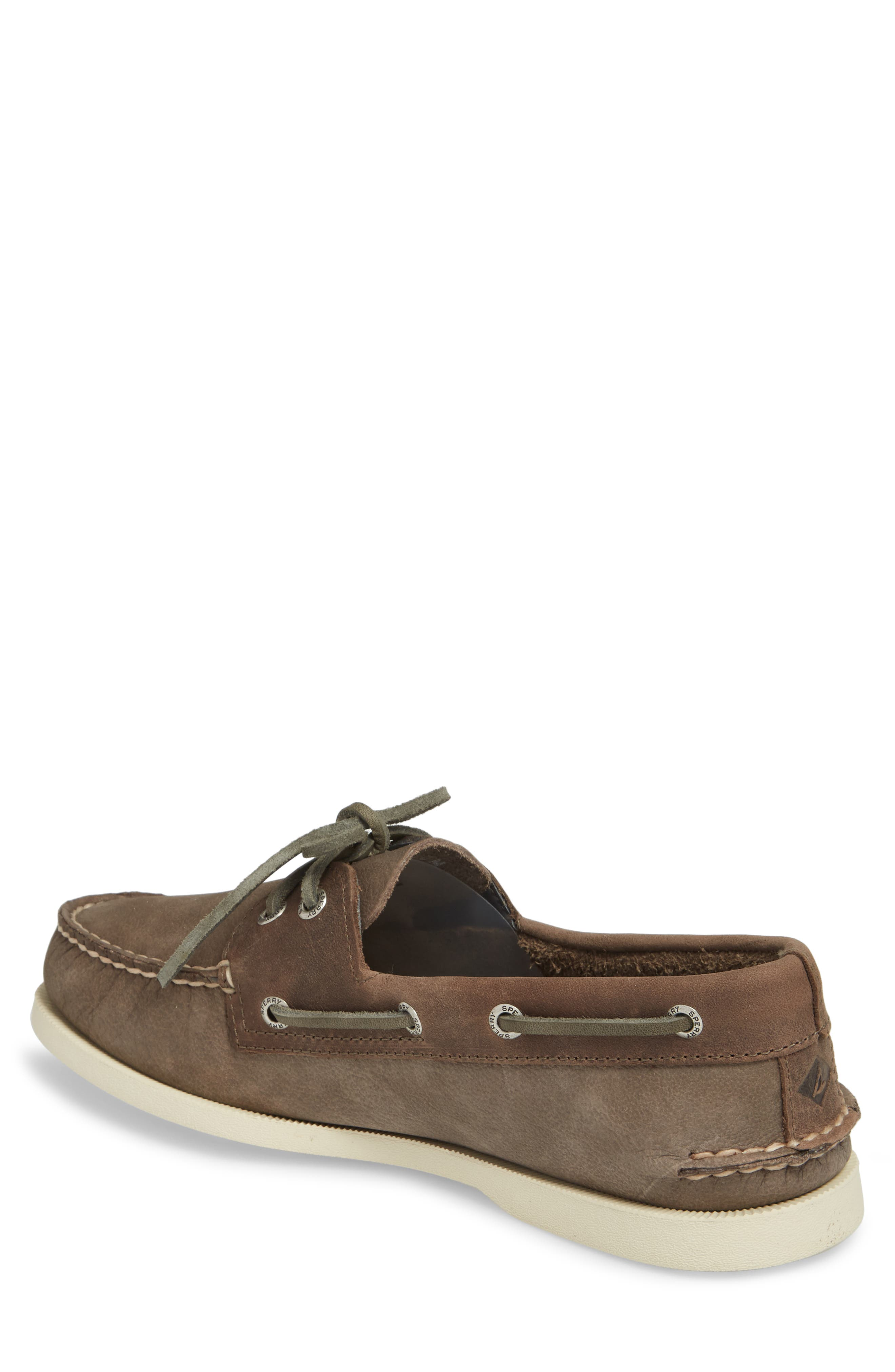 Authentic Original Two-Eye Boat Shoe,                             Alternate thumbnail 2, color,                             GREY/ CHARCOAL LEATHER