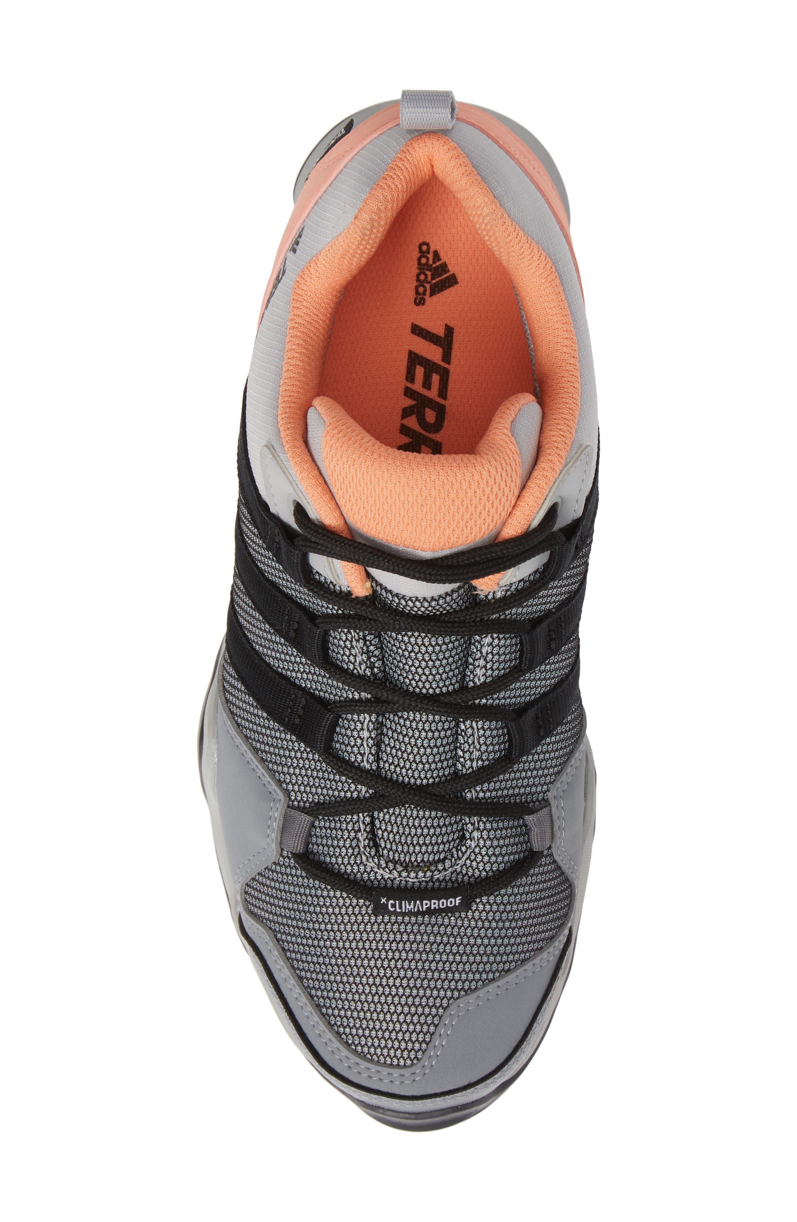 Terrex AX2 CLIMAPROOF<sup>®</sup> Hiking Shoe,                             Alternate thumbnail 5, color,                             GREY/ BLACK/ CHALK CORAL
