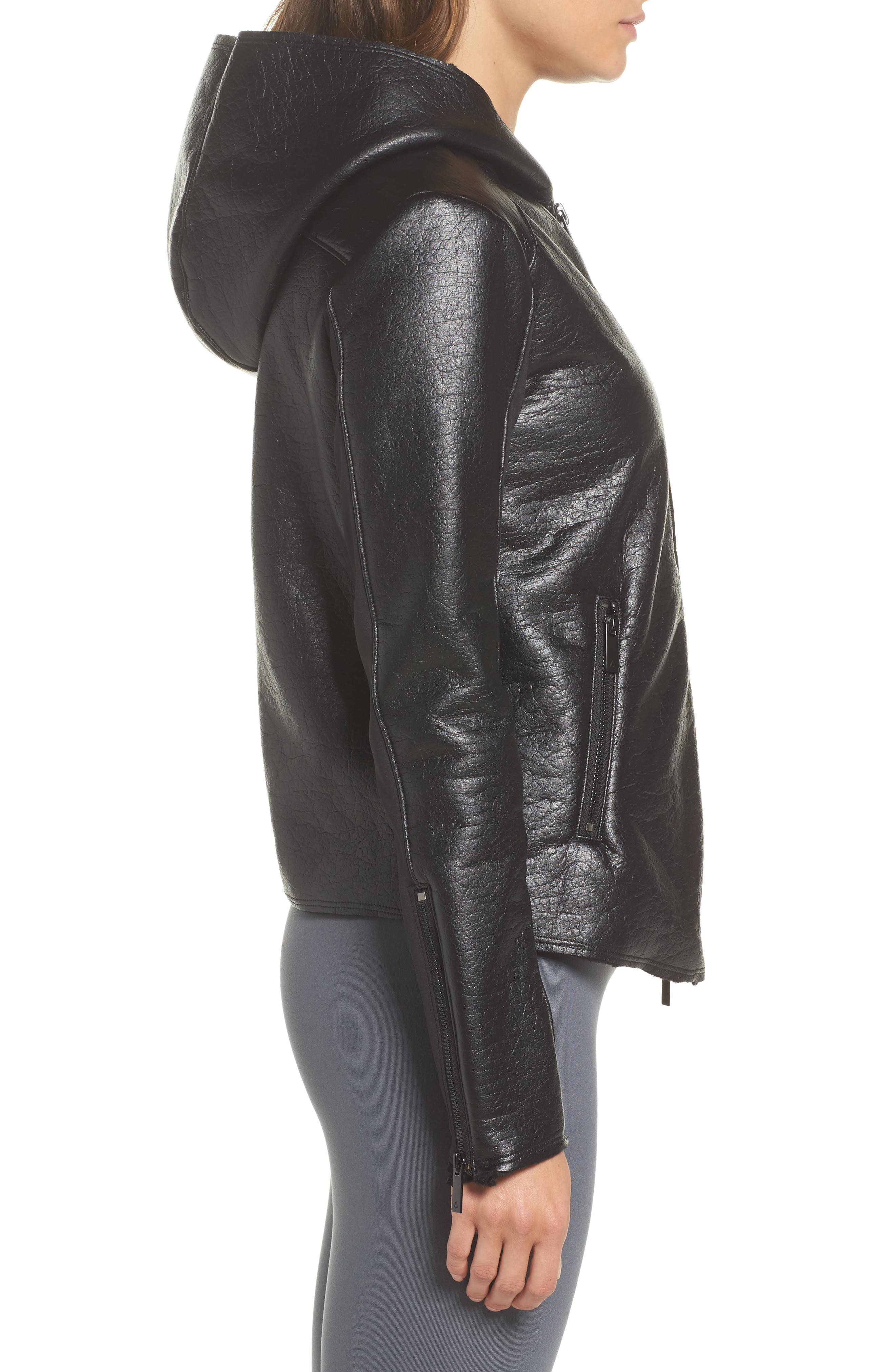 Fleece Lined Faux Leather Jacket,                             Alternate thumbnail 3, color,                             001
