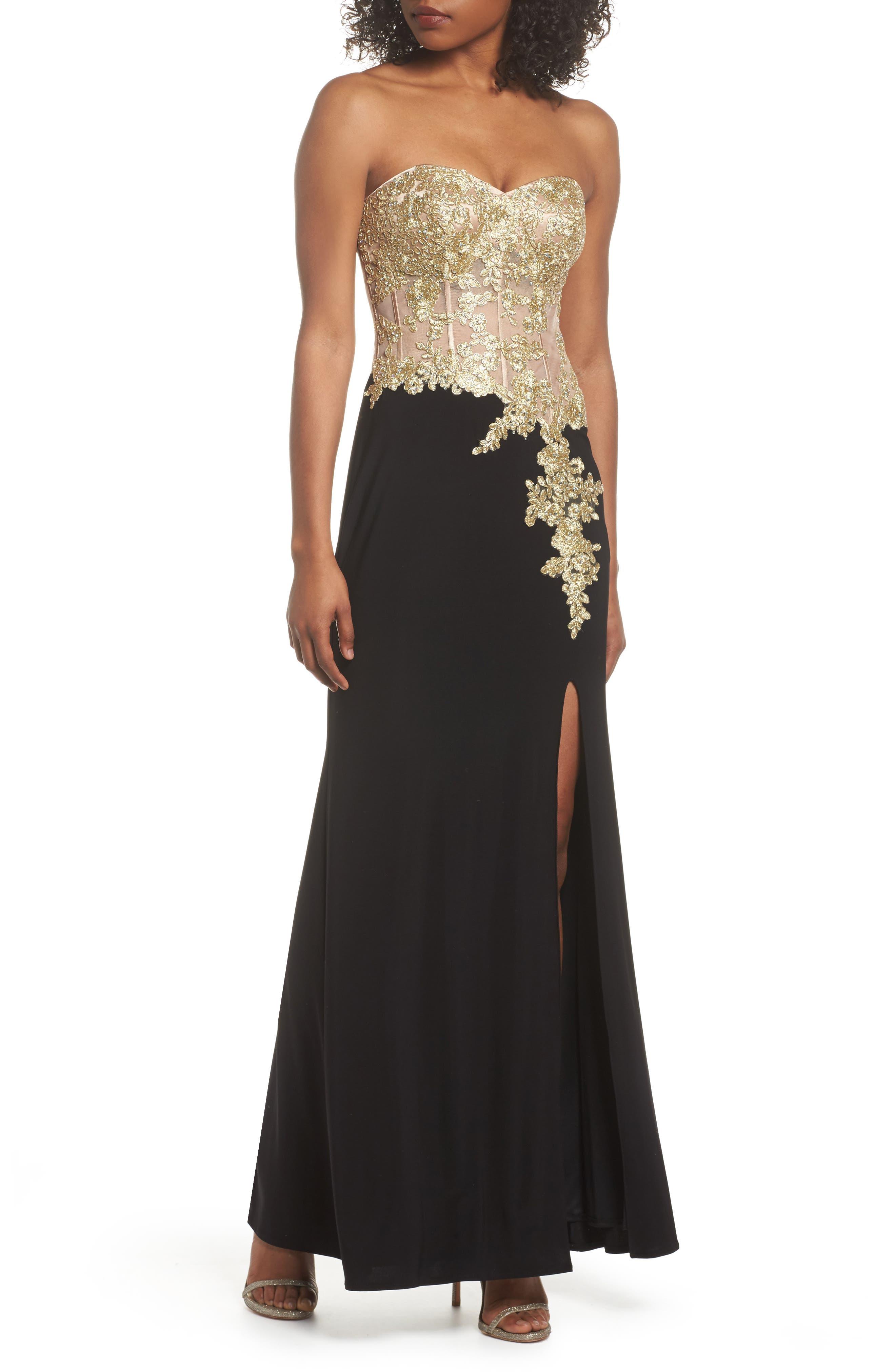 Appliqué Strapless Bustier Gown,                             Main thumbnail 1, color,                             GOLD/BLACK