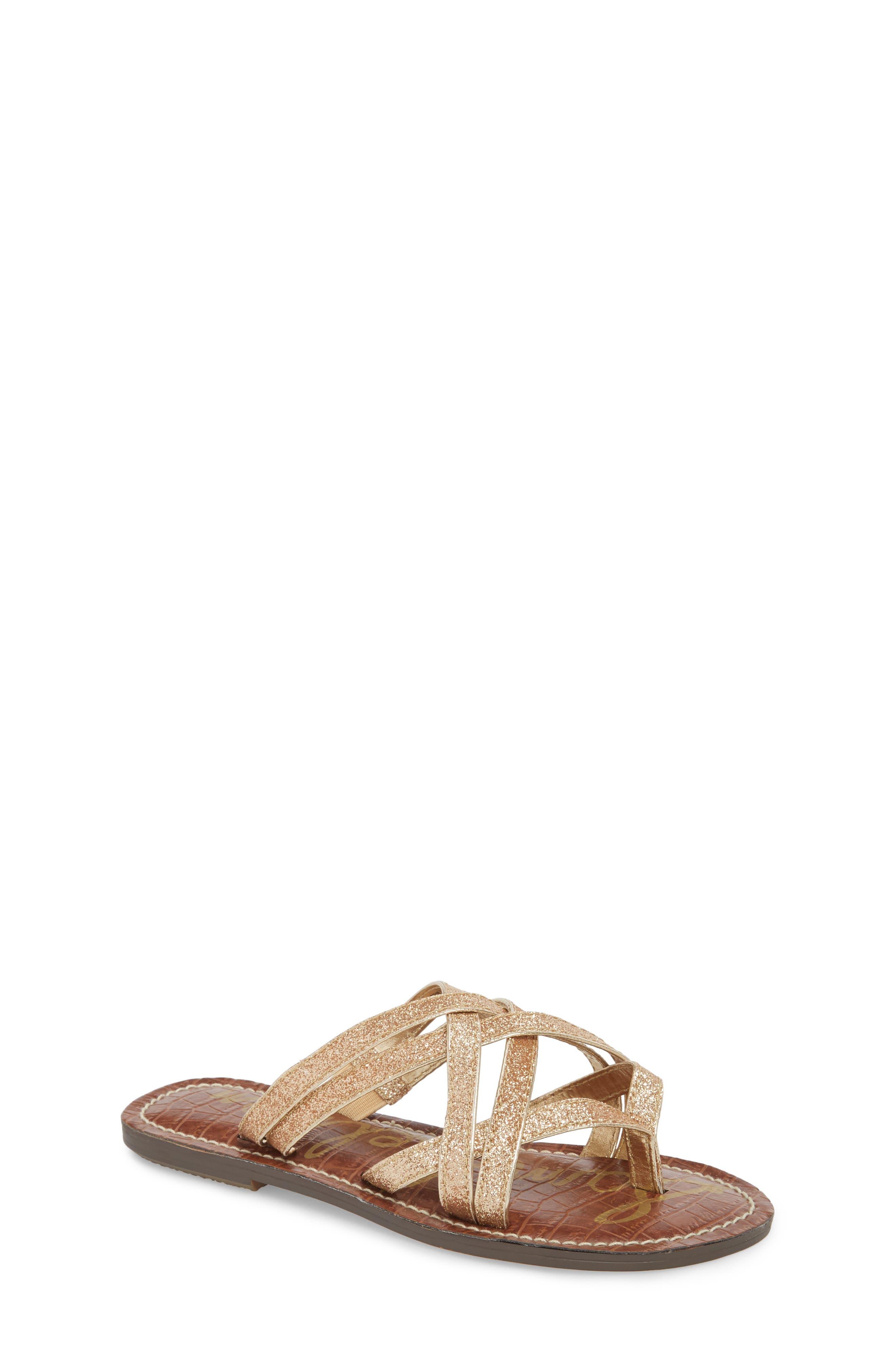 Georgette Glitter Flat Sandal,                             Main thumbnail 3, color,