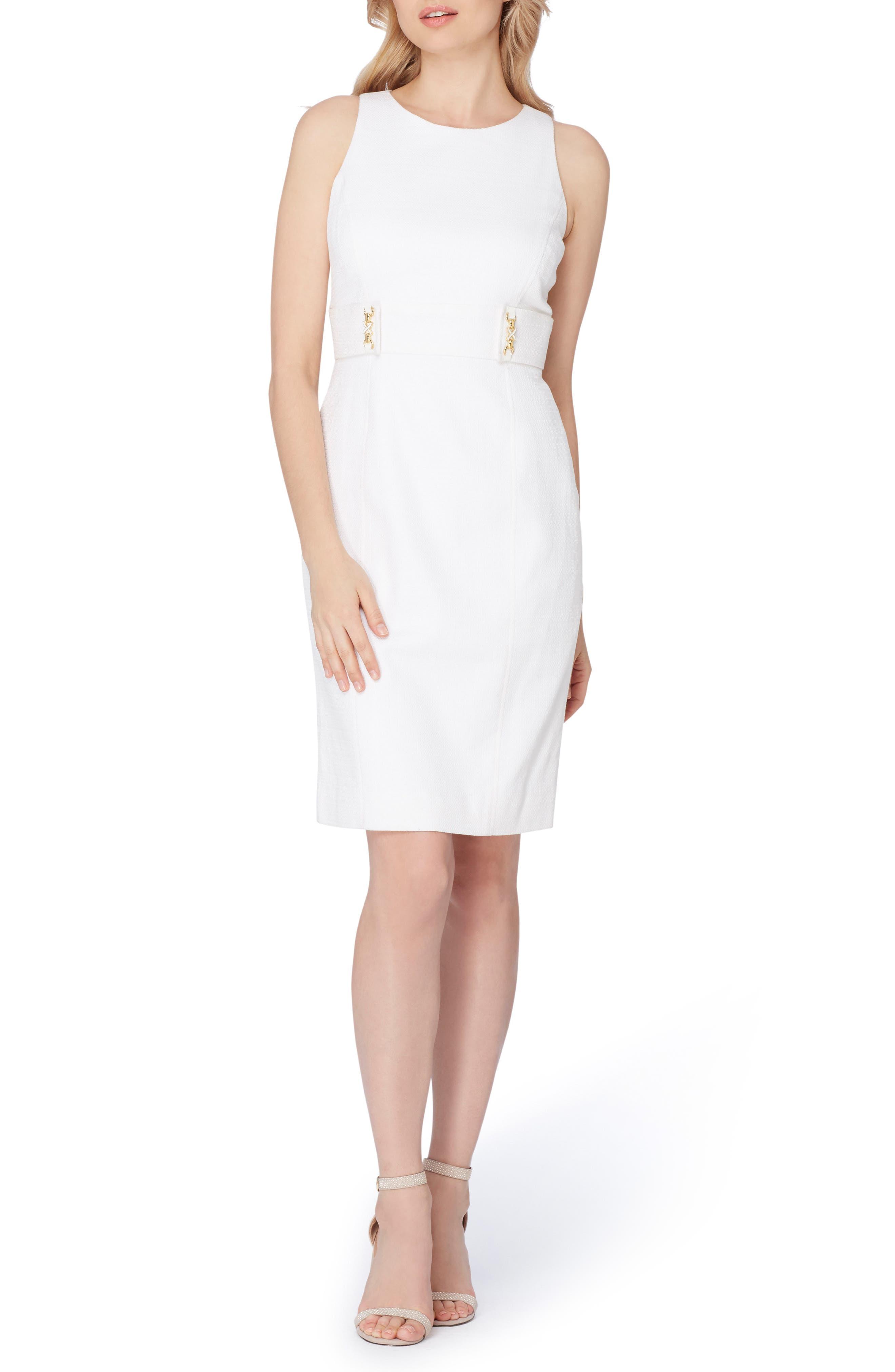 Textured Knit Sheath Dress,                             Alternate thumbnail 3, color,                             100