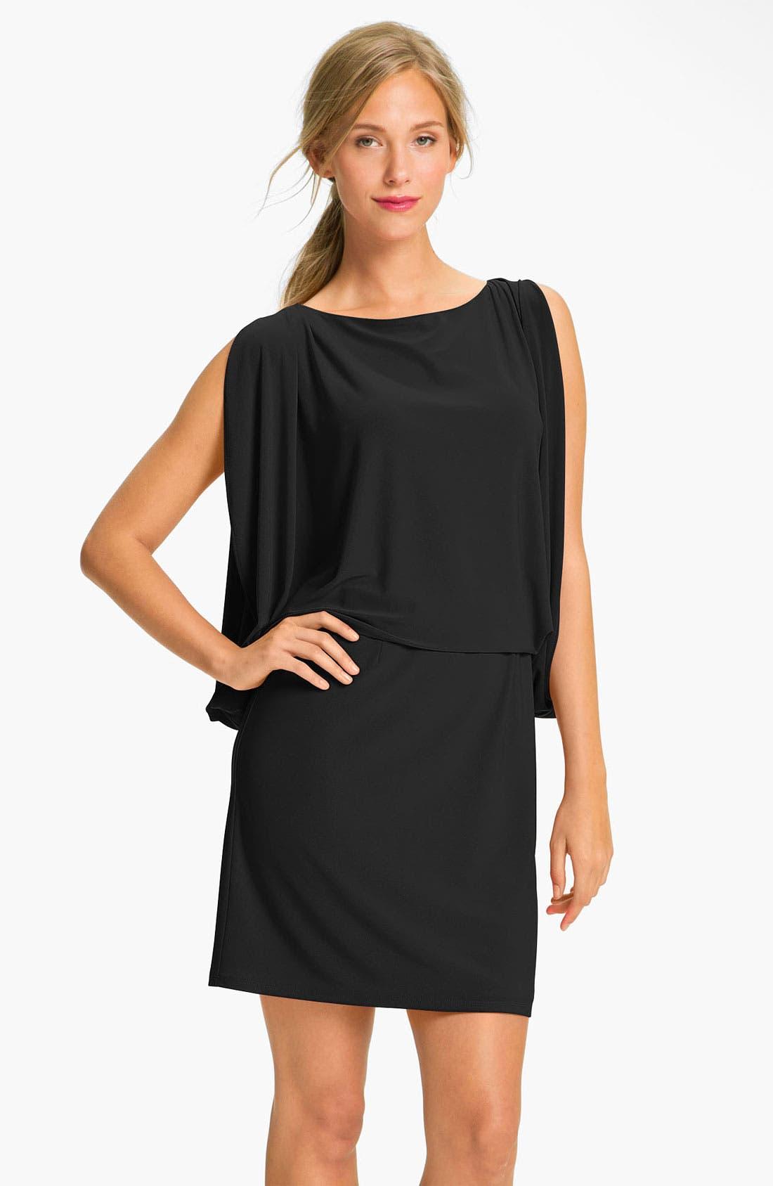 JESSICA SIMPSON,                             Draped Sleeve Jersey Blouson Dress,                             Main thumbnail 1, color,                             001