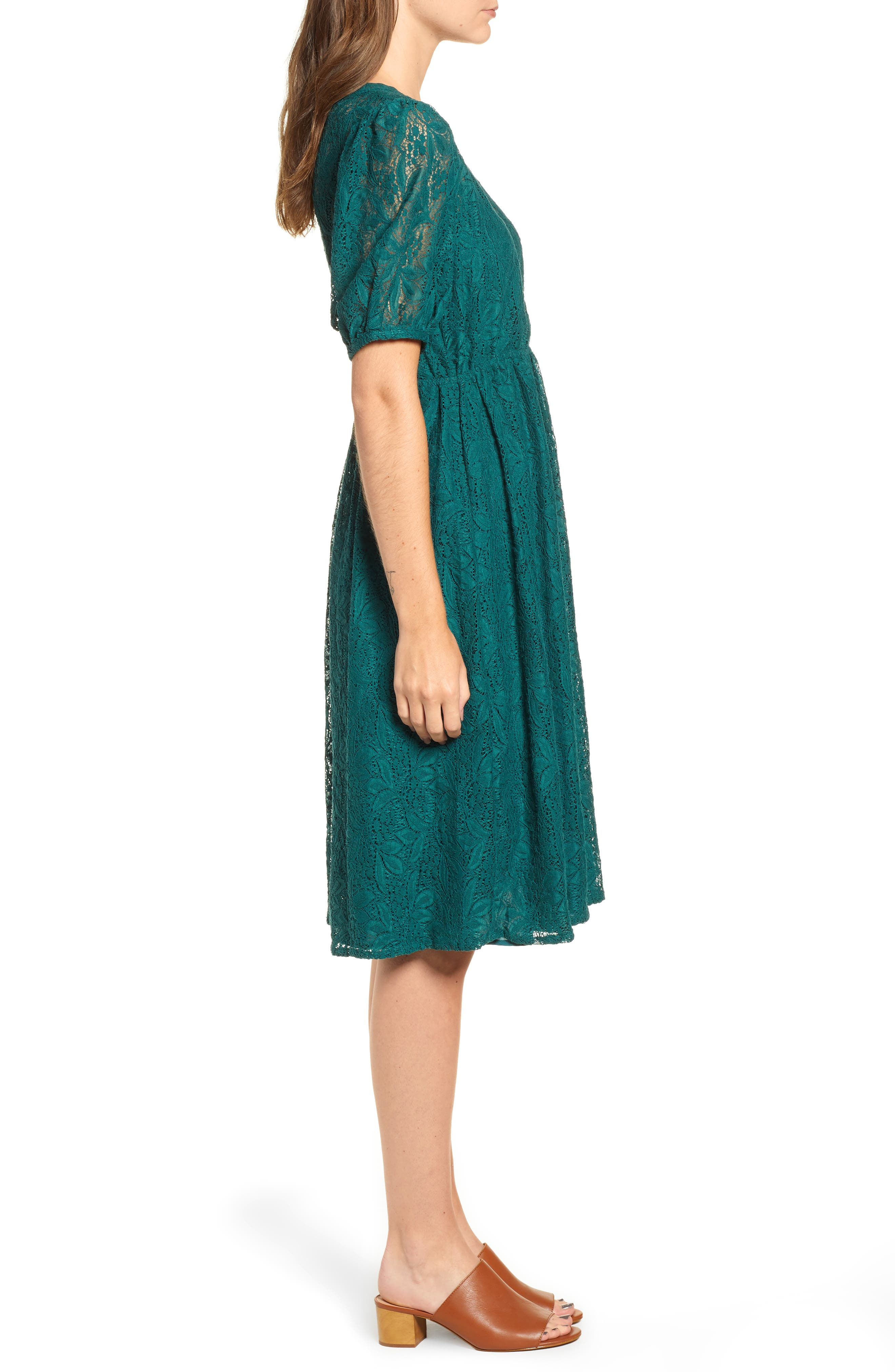 Puff Sleeve Lace Dress,                             Alternate thumbnail 3, color,                             301