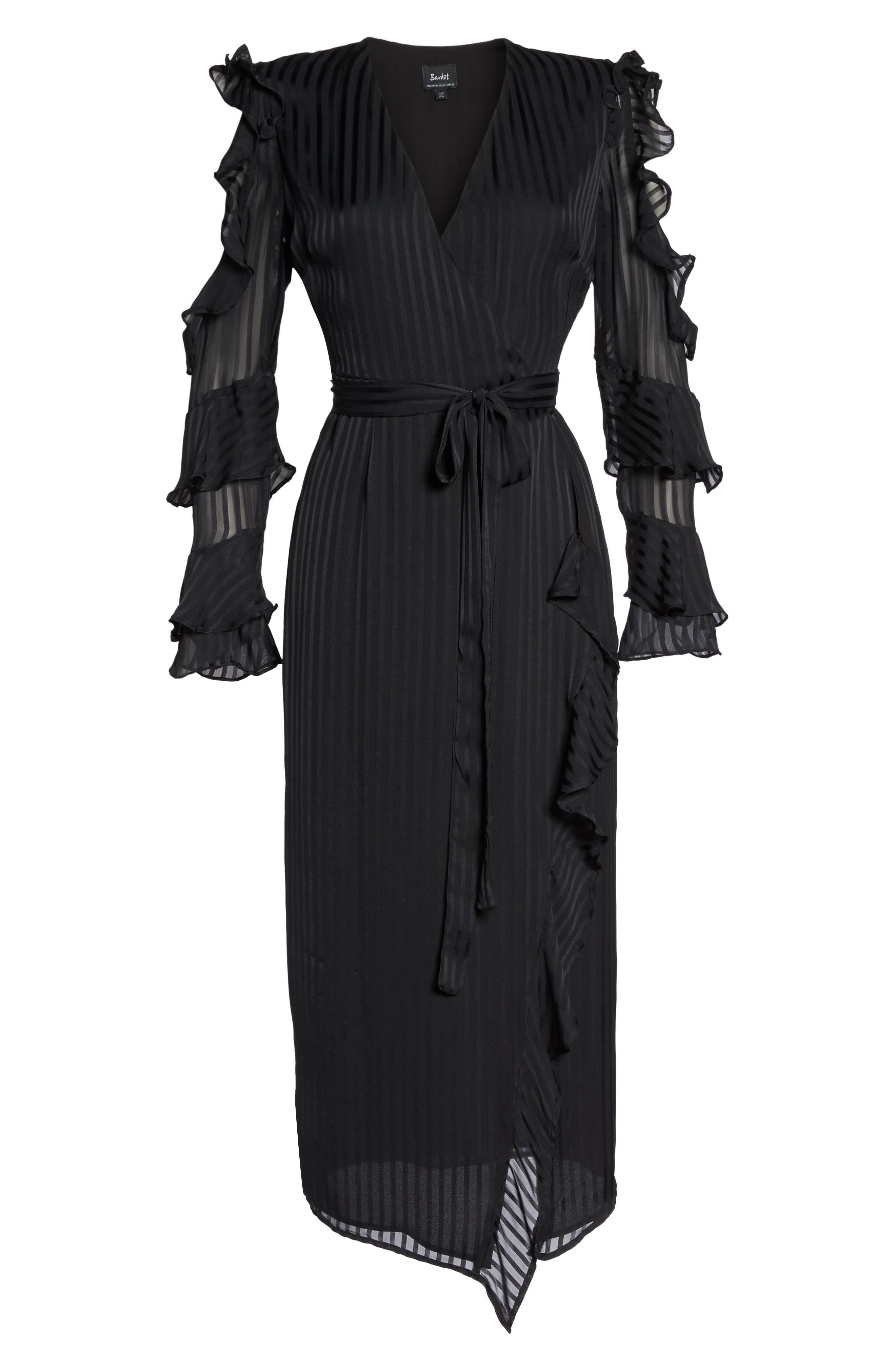 Midnight Cold Shoulder Wrap Dress,                             Alternate thumbnail 6, color,                             001