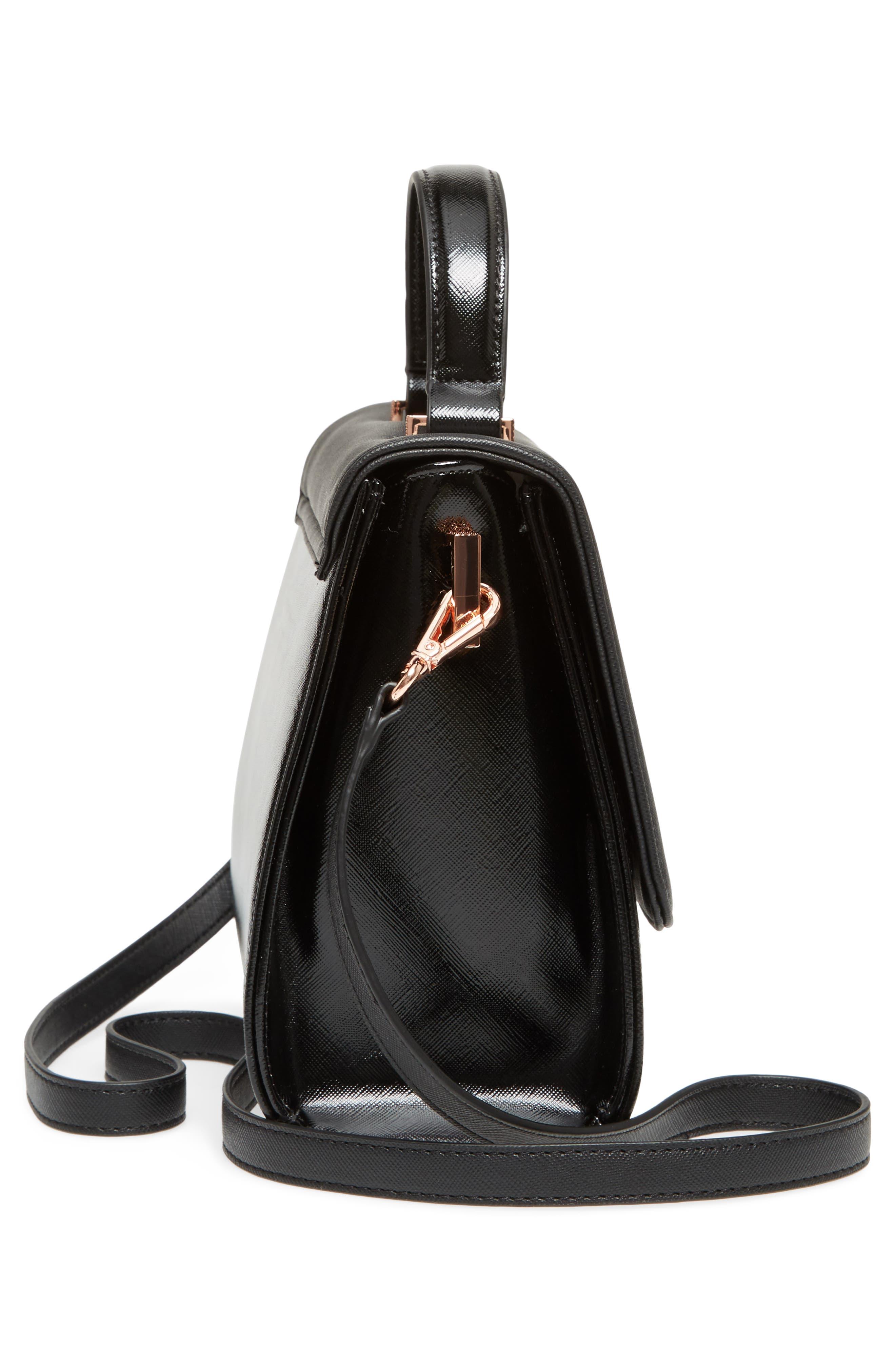 Small Hilaryy Faux Leather Satchel,                             Alternate thumbnail 5, color,                             001