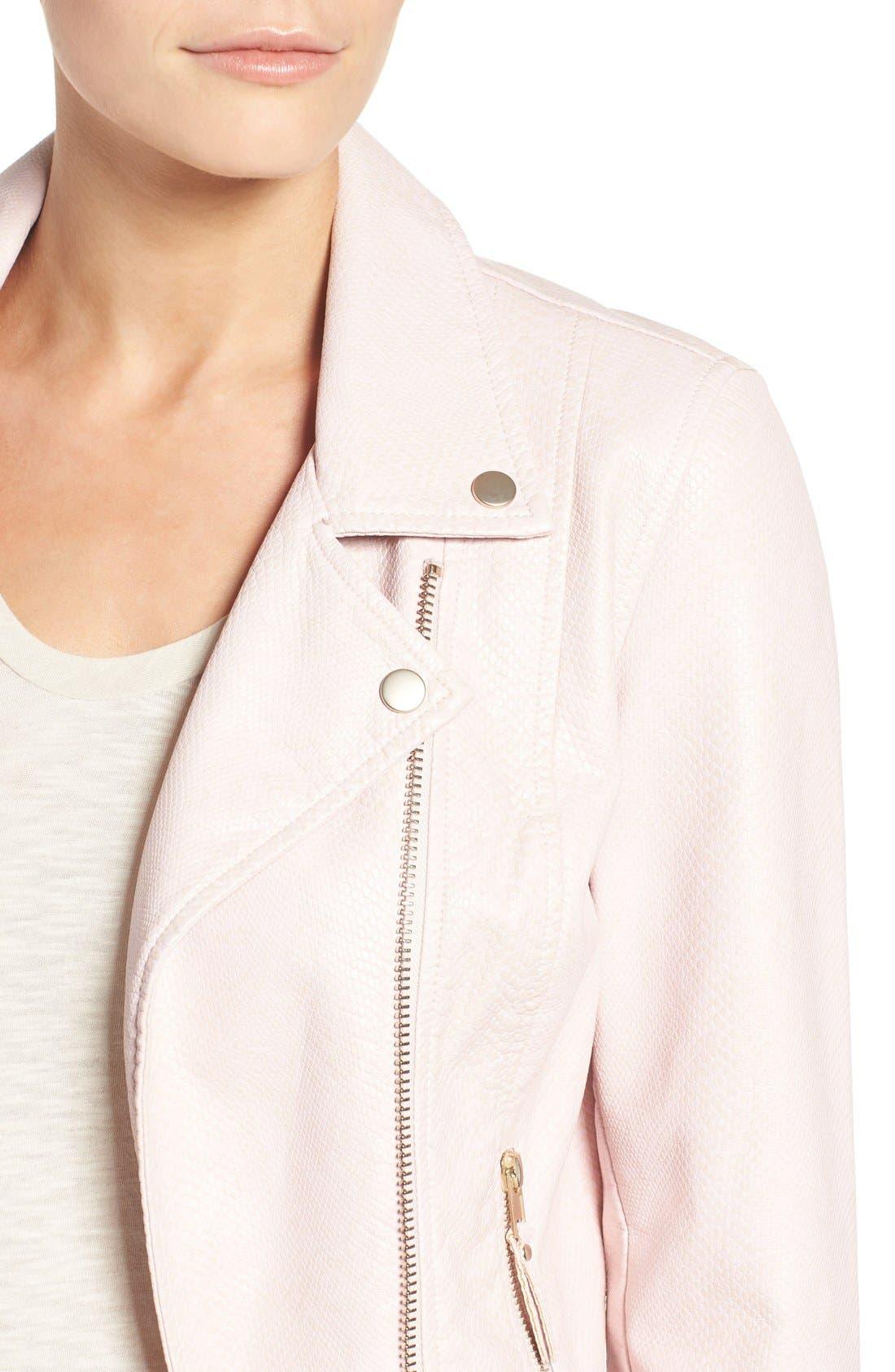 Brooke Faux Leather Moto Jacket,                             Alternate thumbnail 8, color,