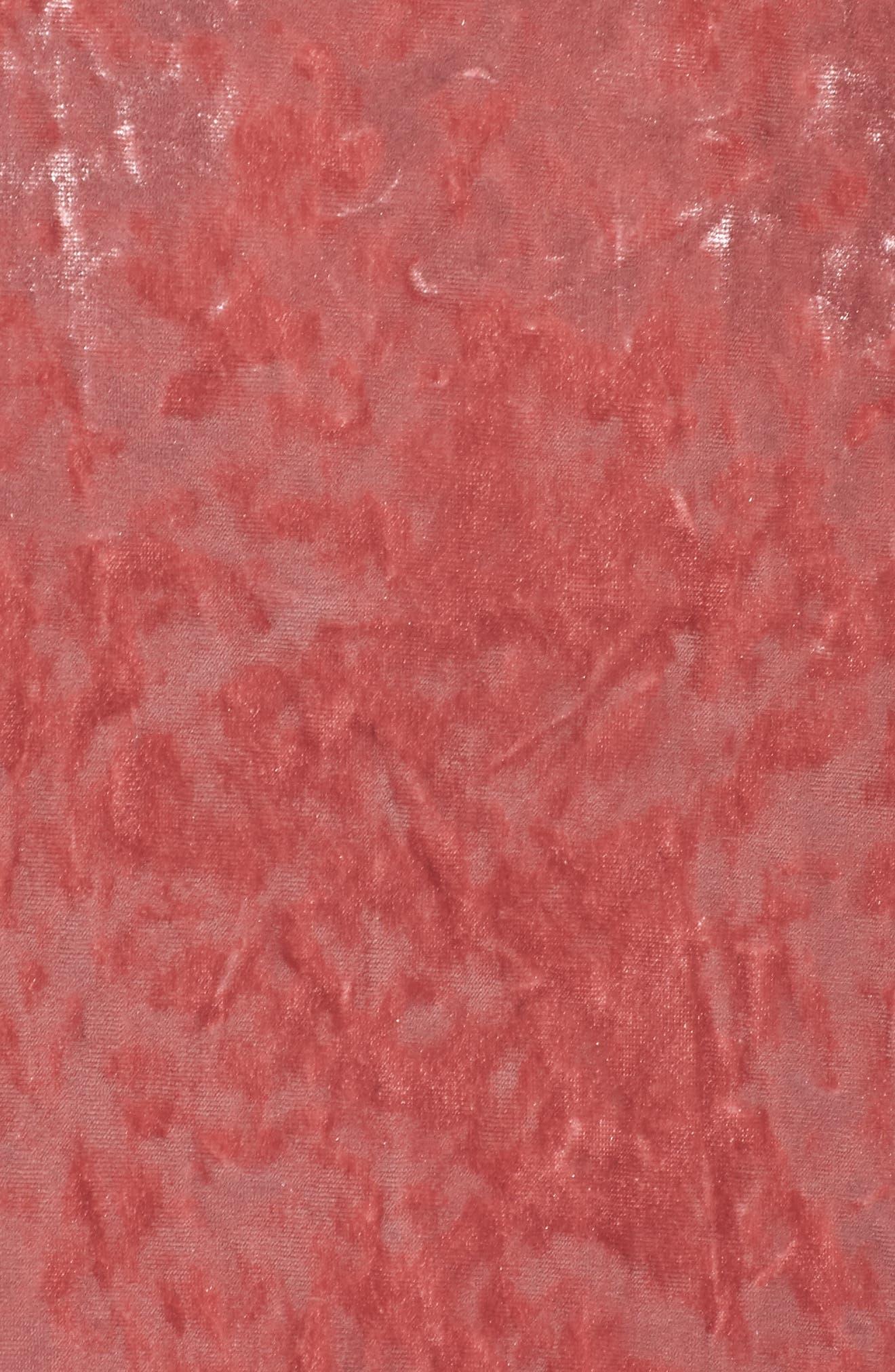 Velvet Midi Dress,                             Alternate thumbnail 5, color,                             ICE PINK