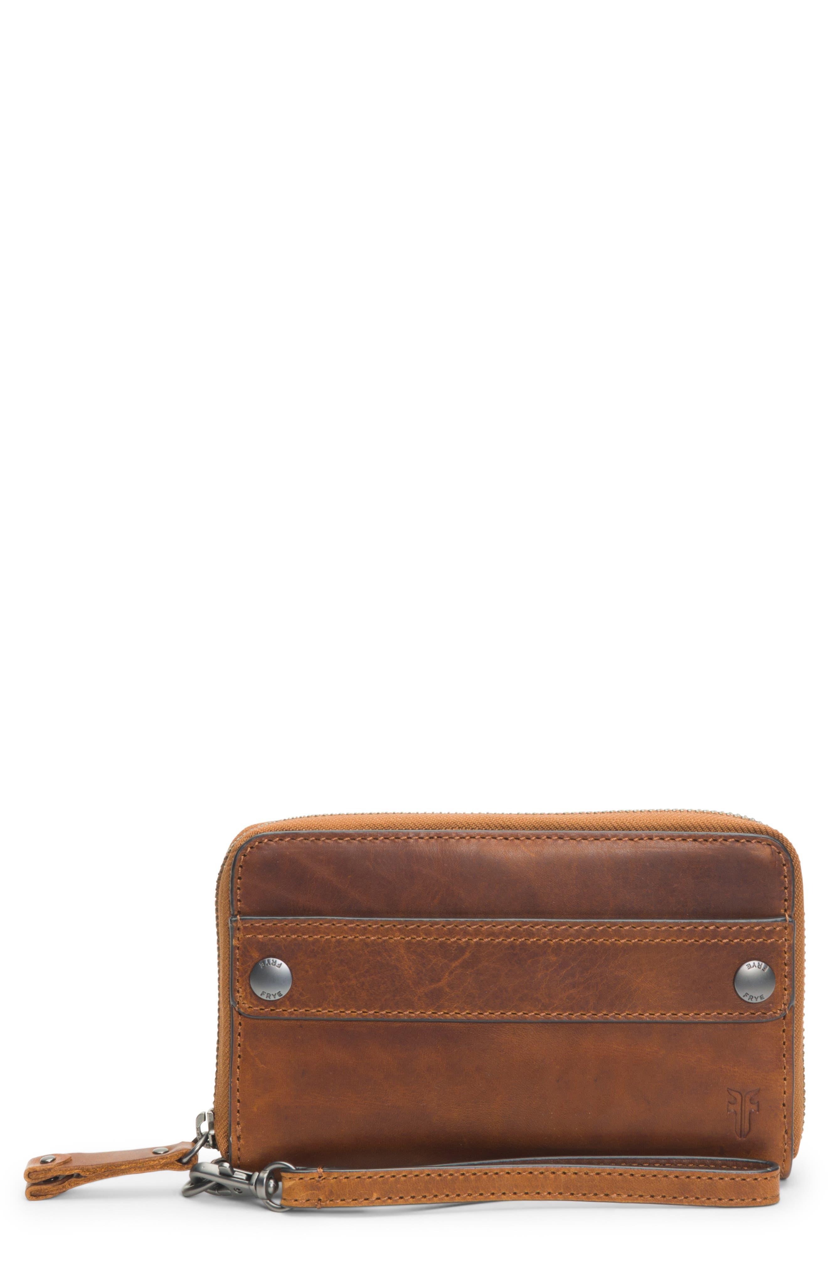 Melissa Large Leather Phone Wallet,                             Main thumbnail 1, color,                             COGNAC