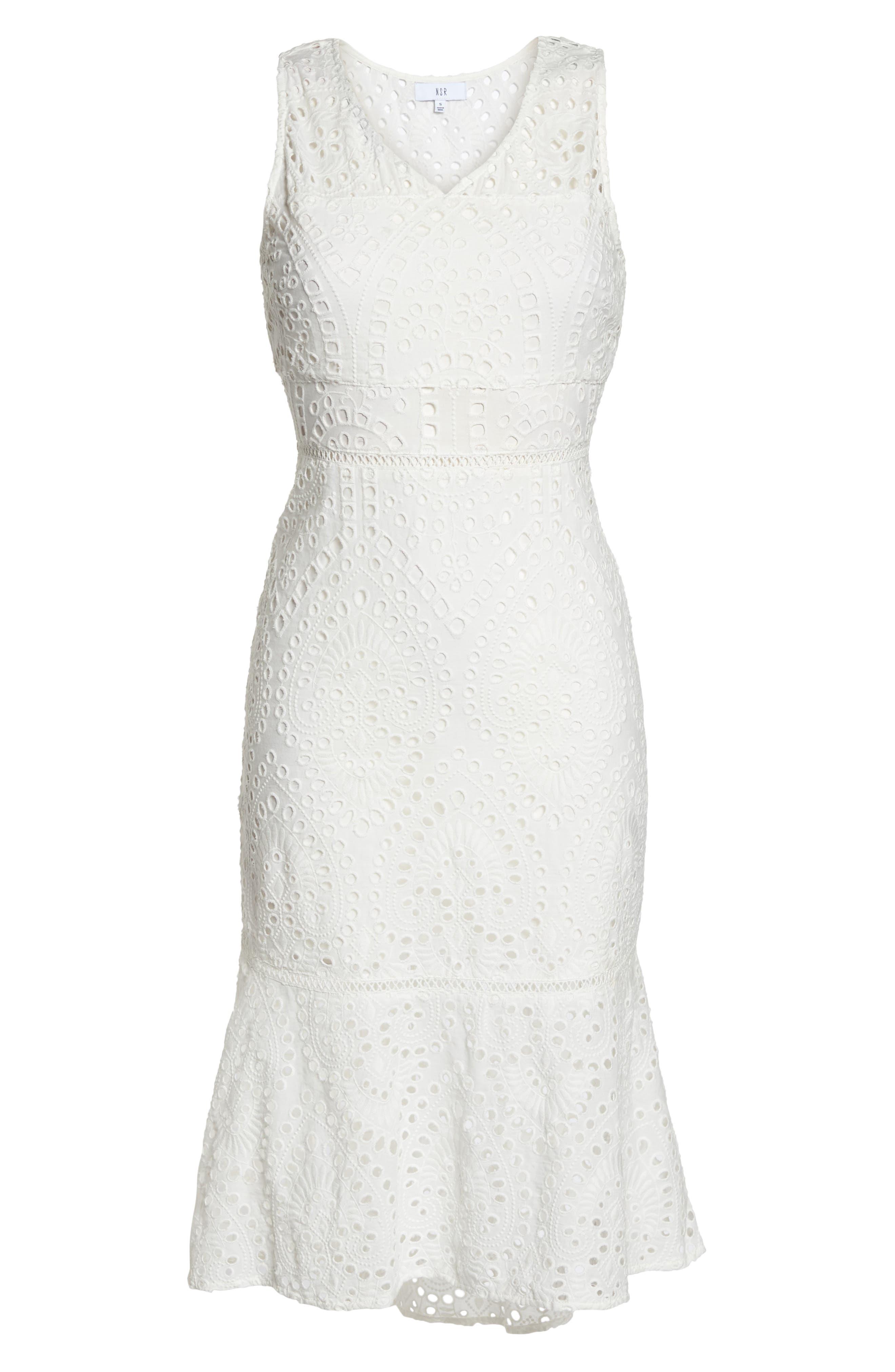 Selma Sleeveless Eyelet Dress,                             Alternate thumbnail 6, color,                             WHITE
