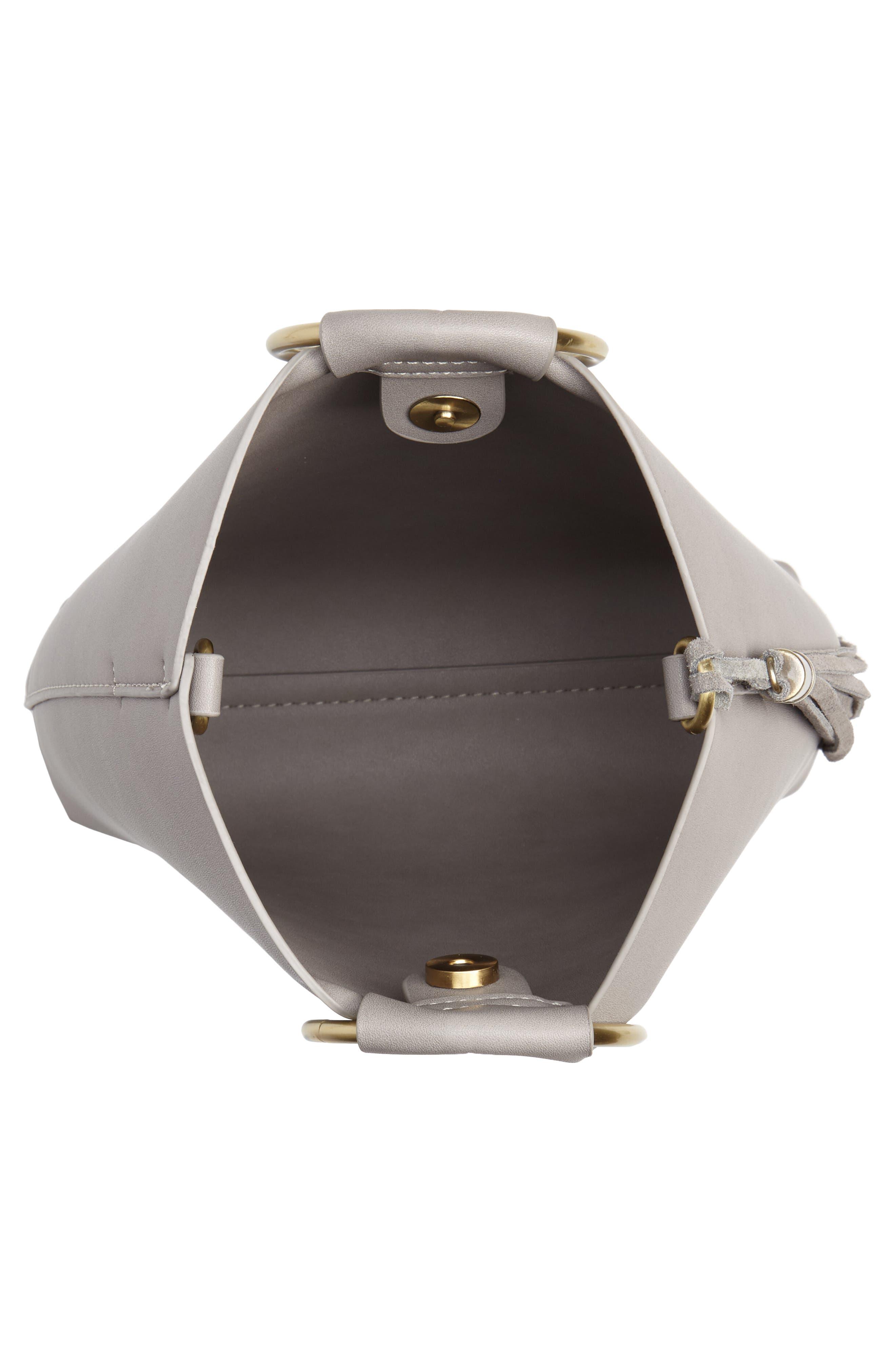 Metal Handle Faux Leather Crossbody Bag,                             Alternate thumbnail 4, color,                             020
