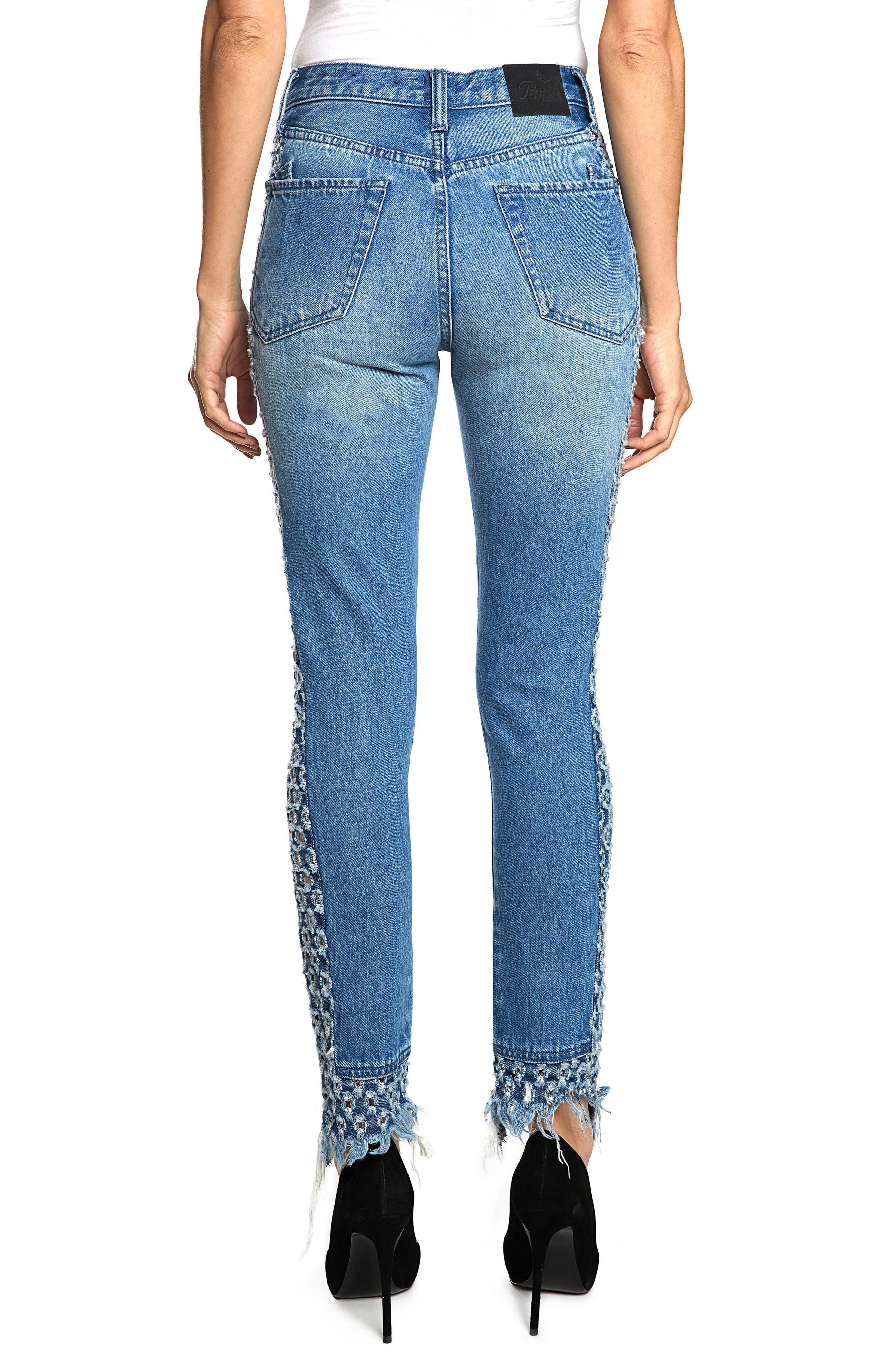 AMX Cutout Side Fray Hem Ankle Jeans,                             Alternate thumbnail 2, color,                             LIGHT STONE