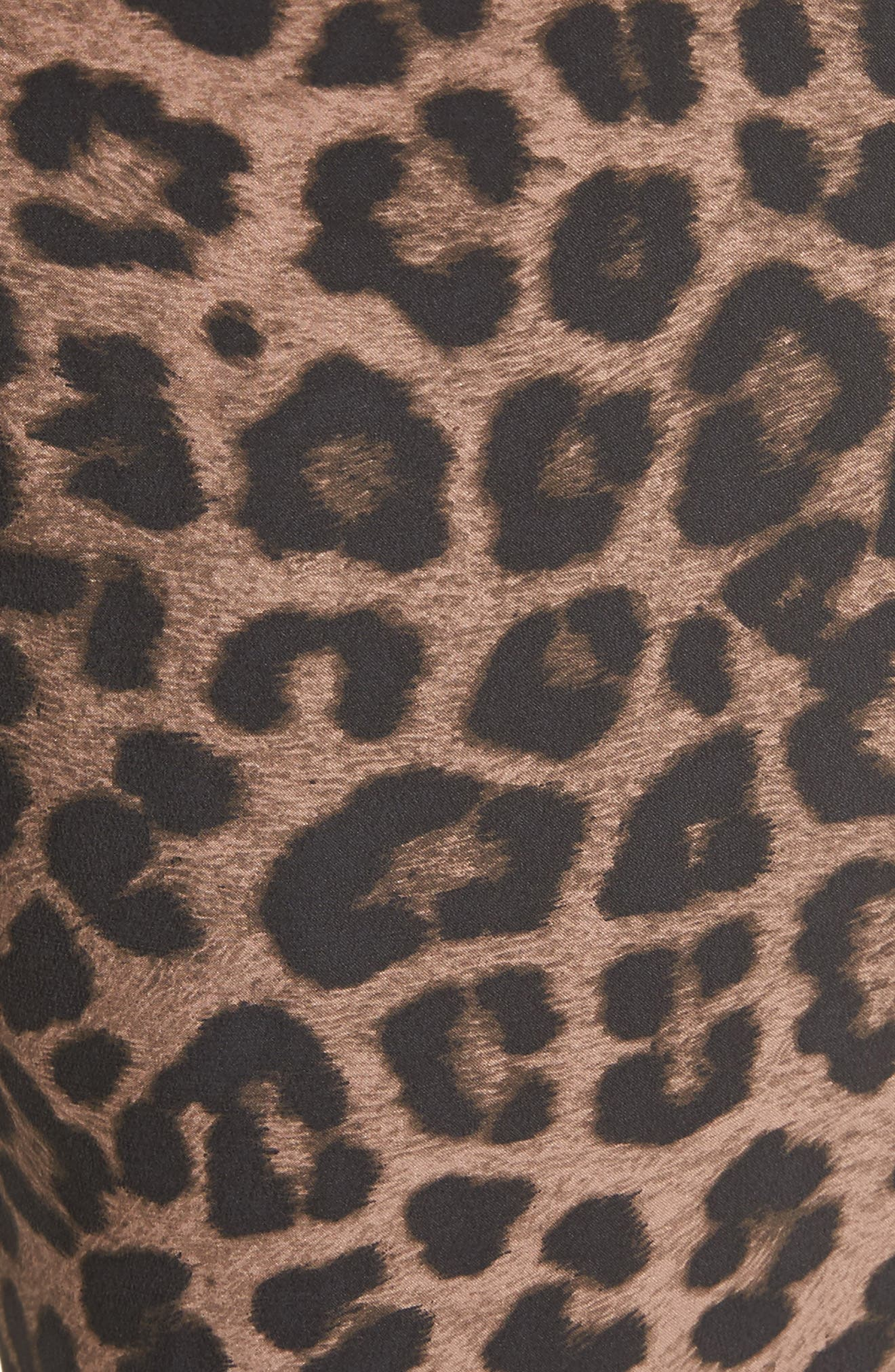 Ayanna B Leopard Print Silk Crop Pants,                             Alternate thumbnail 5, color,                             005