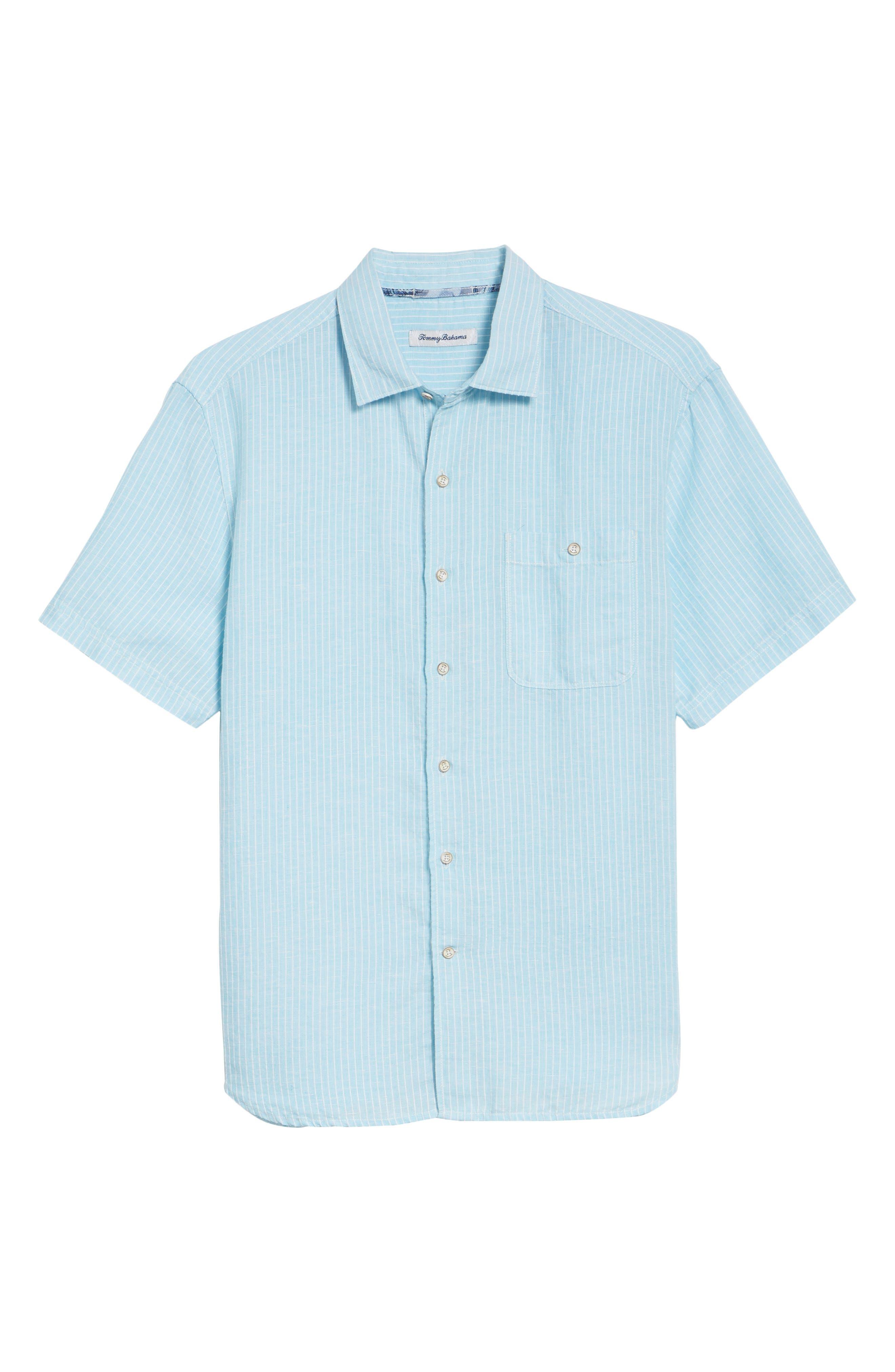 Sand Linen Dobby Stripe Sport Shirt,                             Alternate thumbnail 6, color,                             BLUE RADIANCE