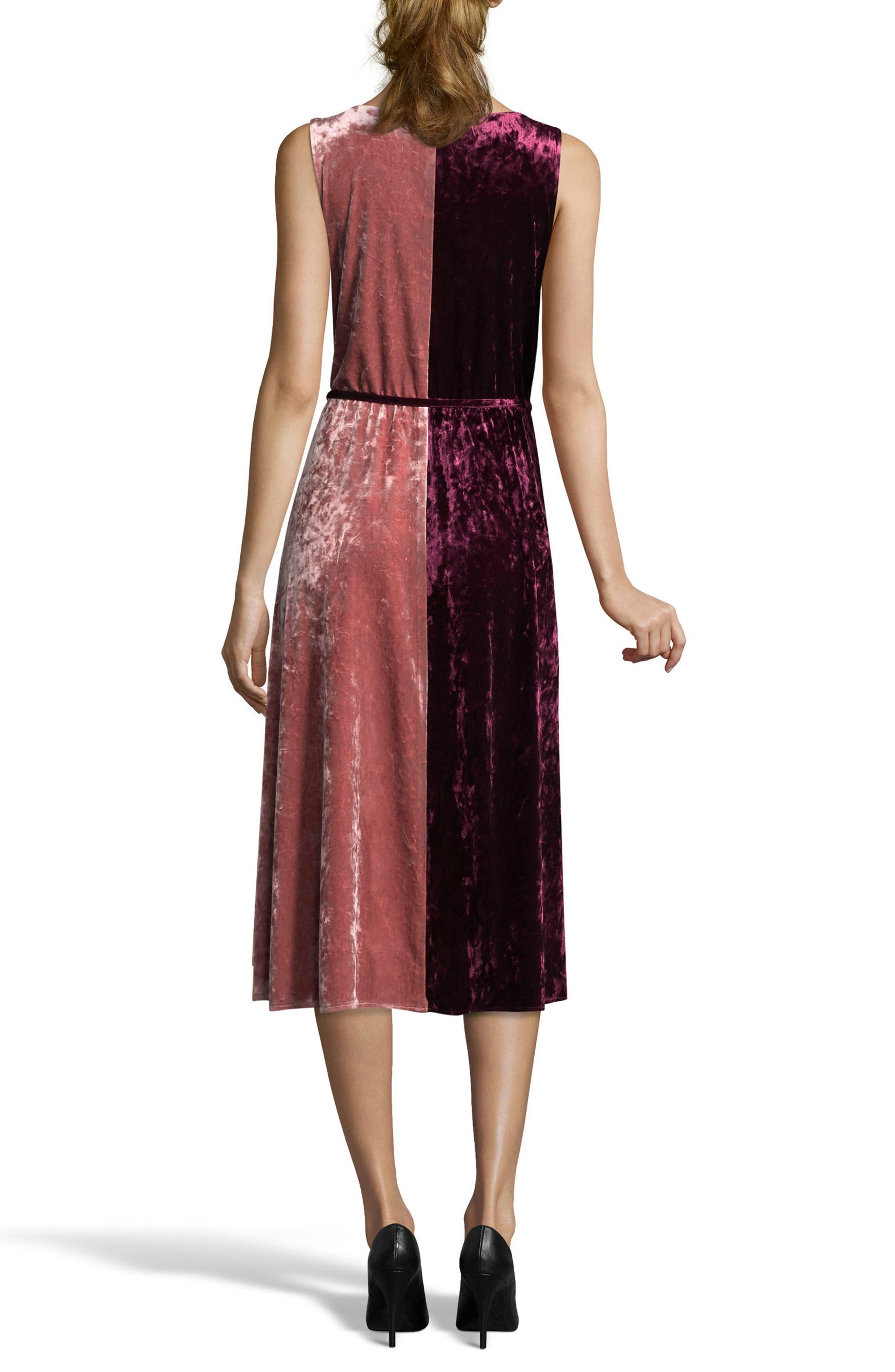 Crushed Velvet Wrap Dress,                             Alternate thumbnail 2, color,