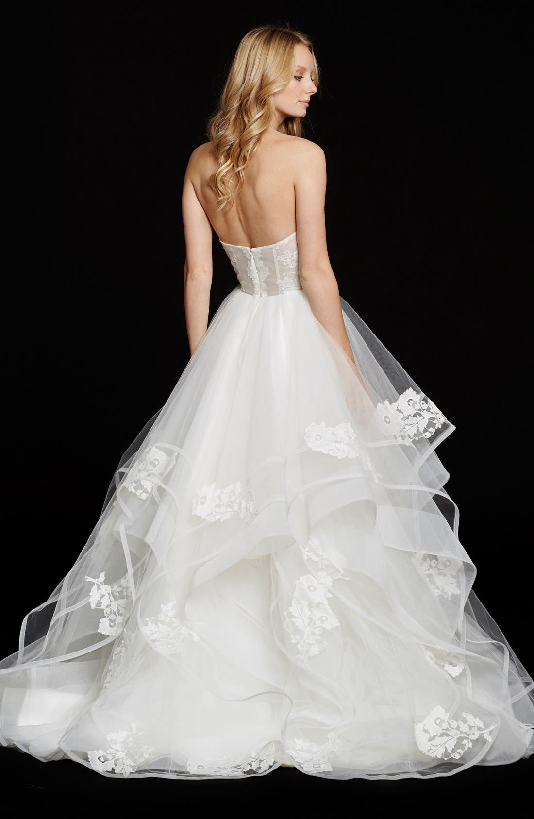 Chantelle Strapless Lace & Tulle Ballgown,                             Alternate thumbnail 2, color,                             IVORY