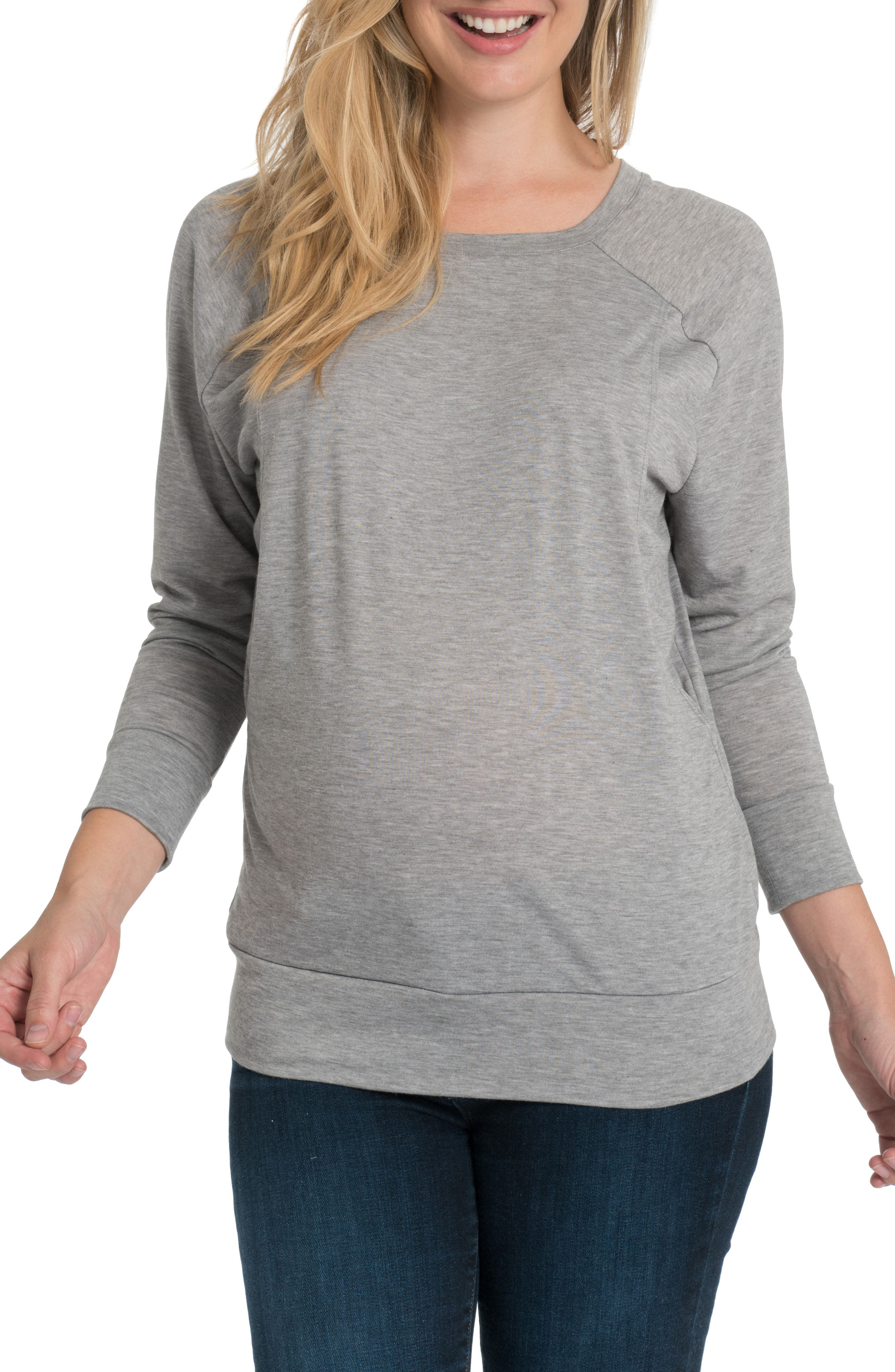 Blissful Cross Back Maternity/Nursing Pullover,                             Main thumbnail 1, color,                             HEATHER GRAY