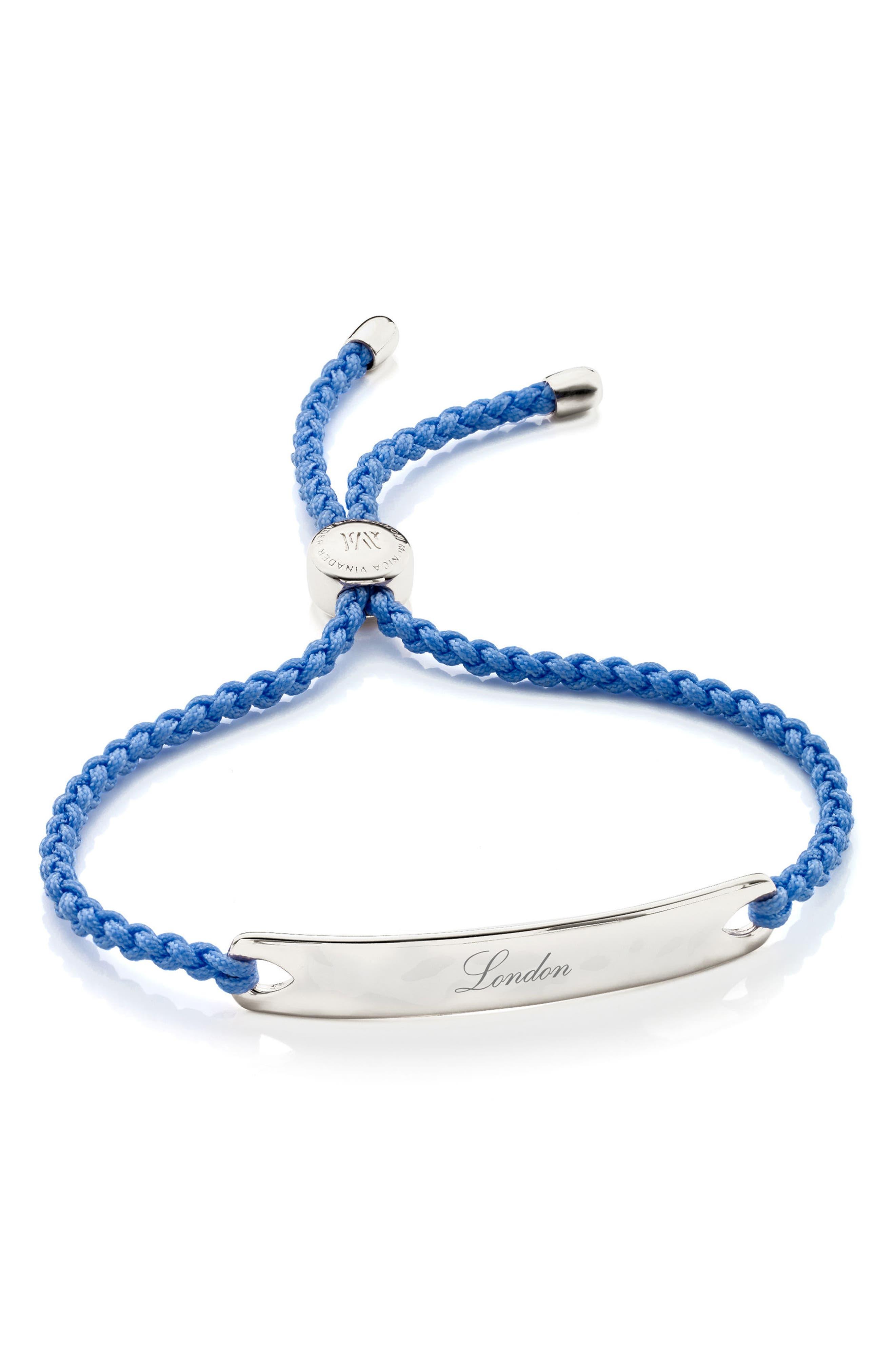 Engravable HavanaFriendship Bracelet,                             Alternate thumbnail 3, color,                             SILVER/ POWDER BLUE