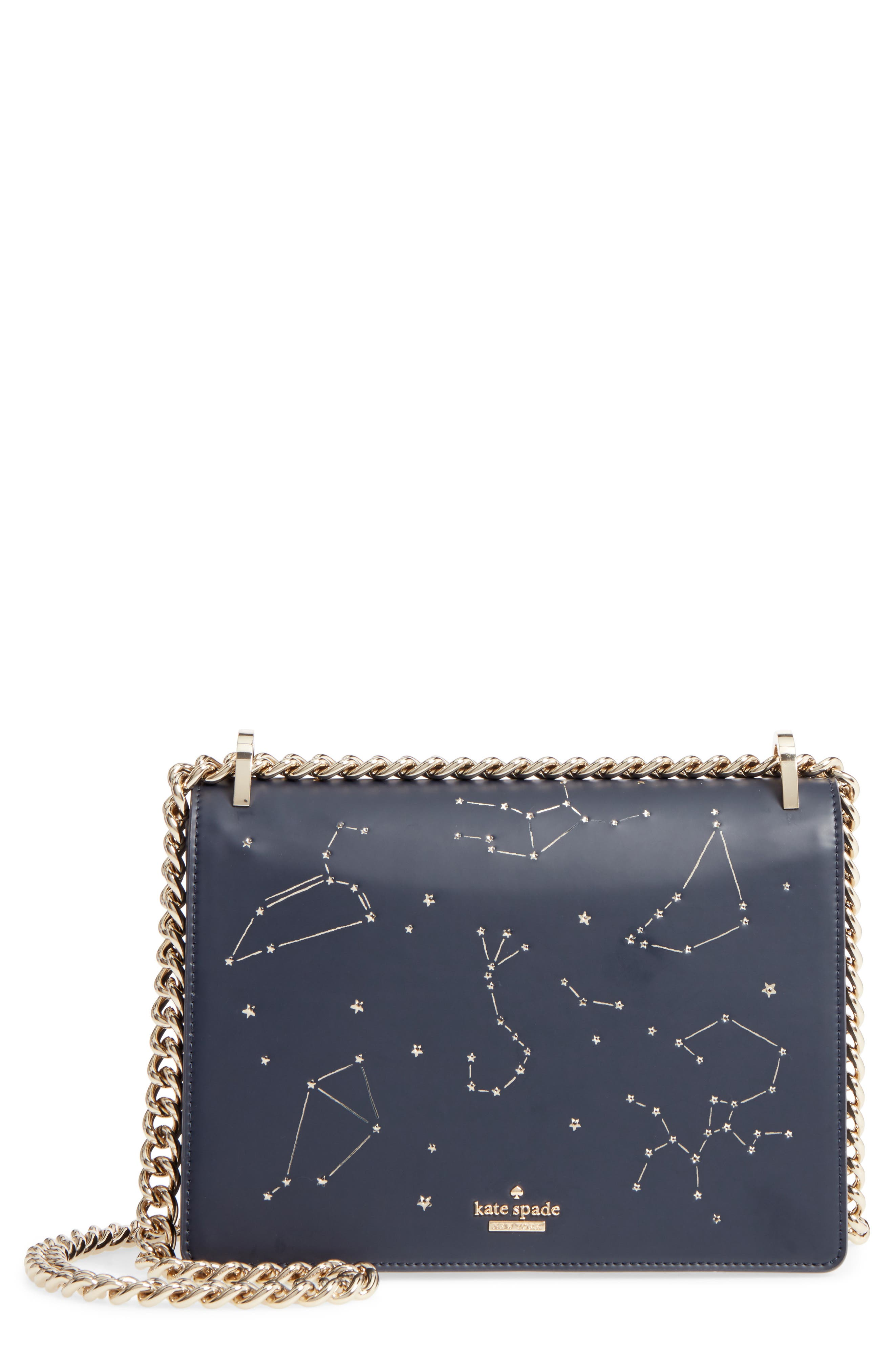 KATE SPADE NEW YORK,                             starbright marci LED light-up faux leather shoulder bag,                             Main thumbnail 1, color,                             400